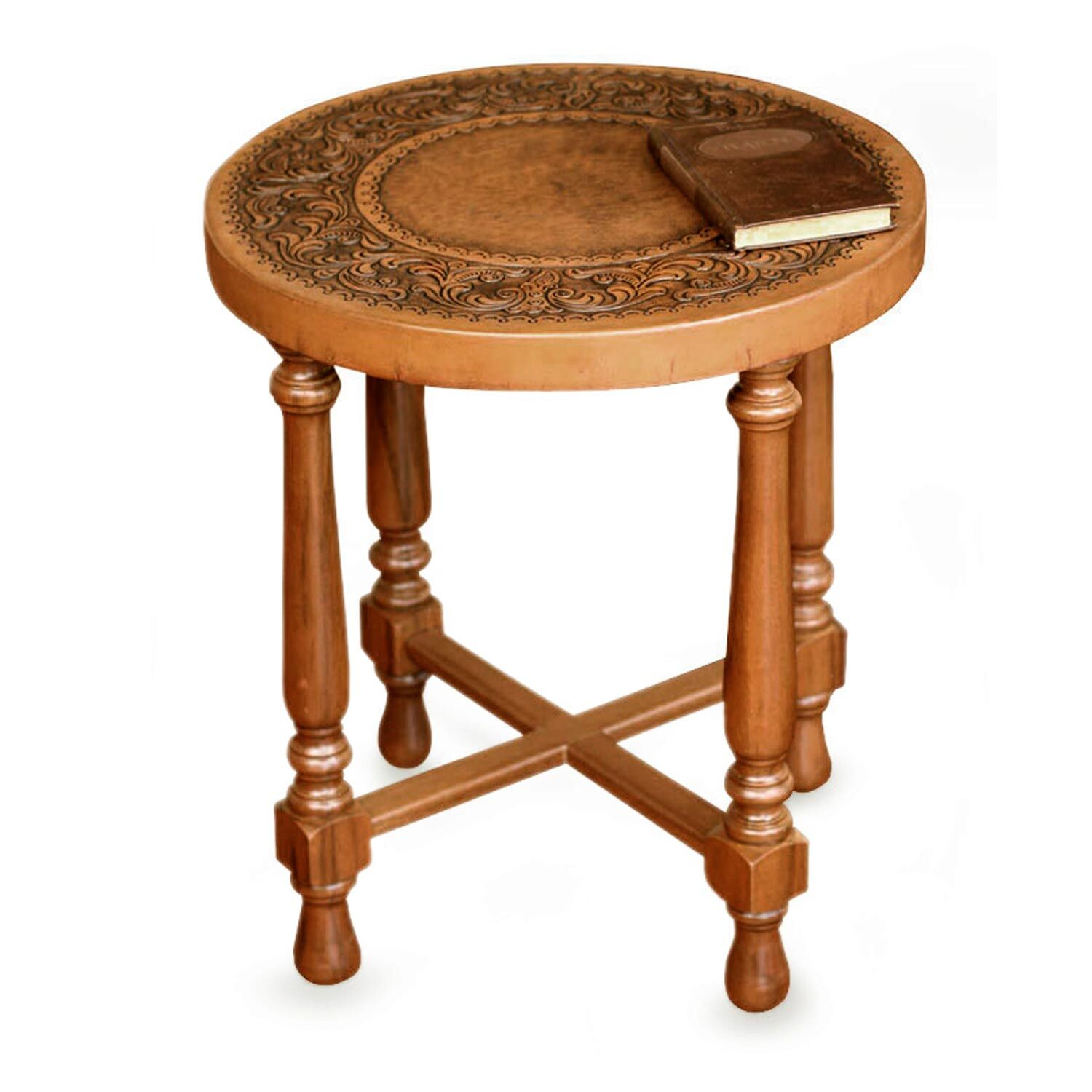 Colonial Light Mohena Wood and Leather End Table
