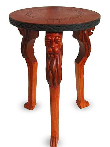 Lion Power Wood End Table