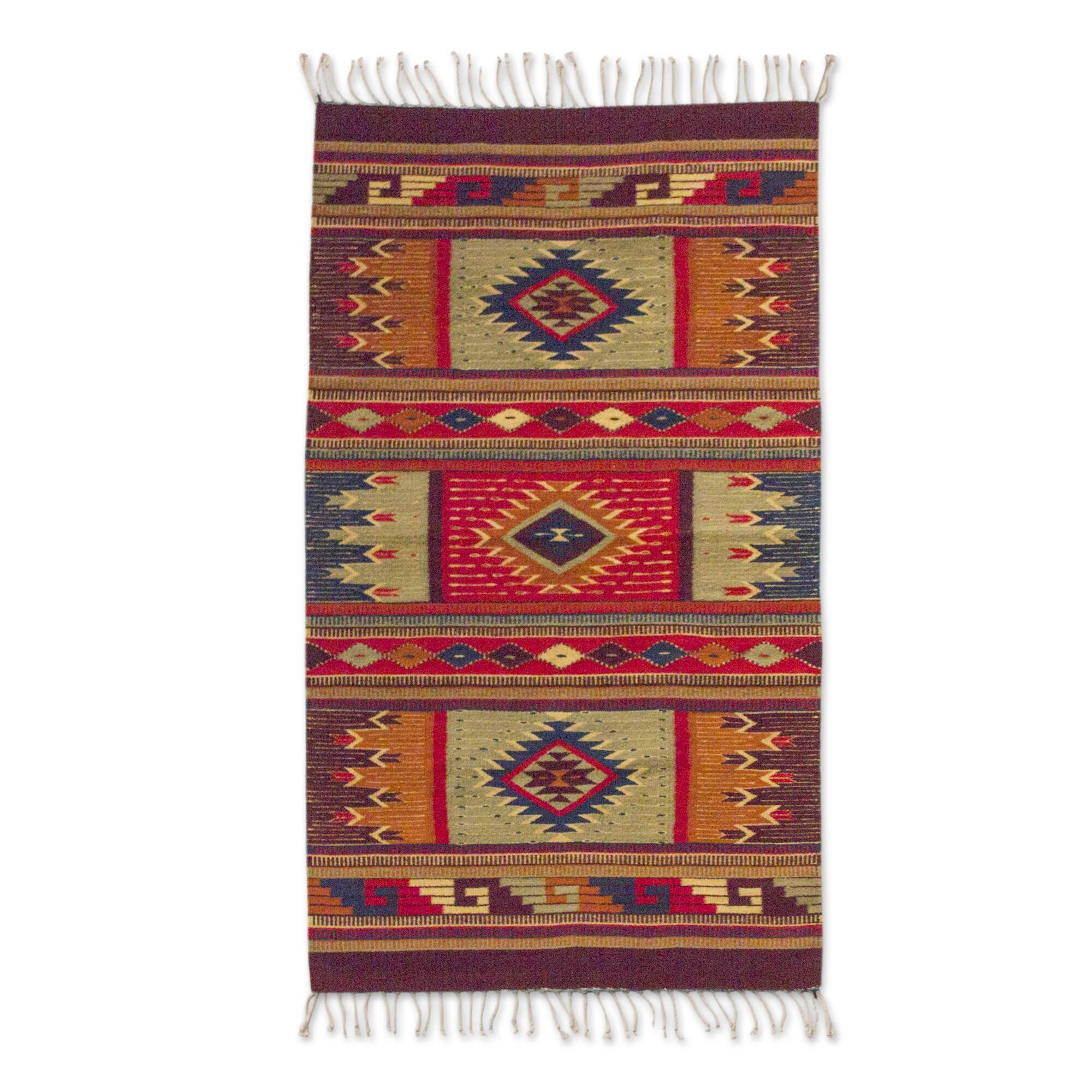 Fair Trade Organically Dyed Authentic Zipotec 'Prairie Stars' Expertly Hand Woven Mexican Wool Home Decor Area Rug