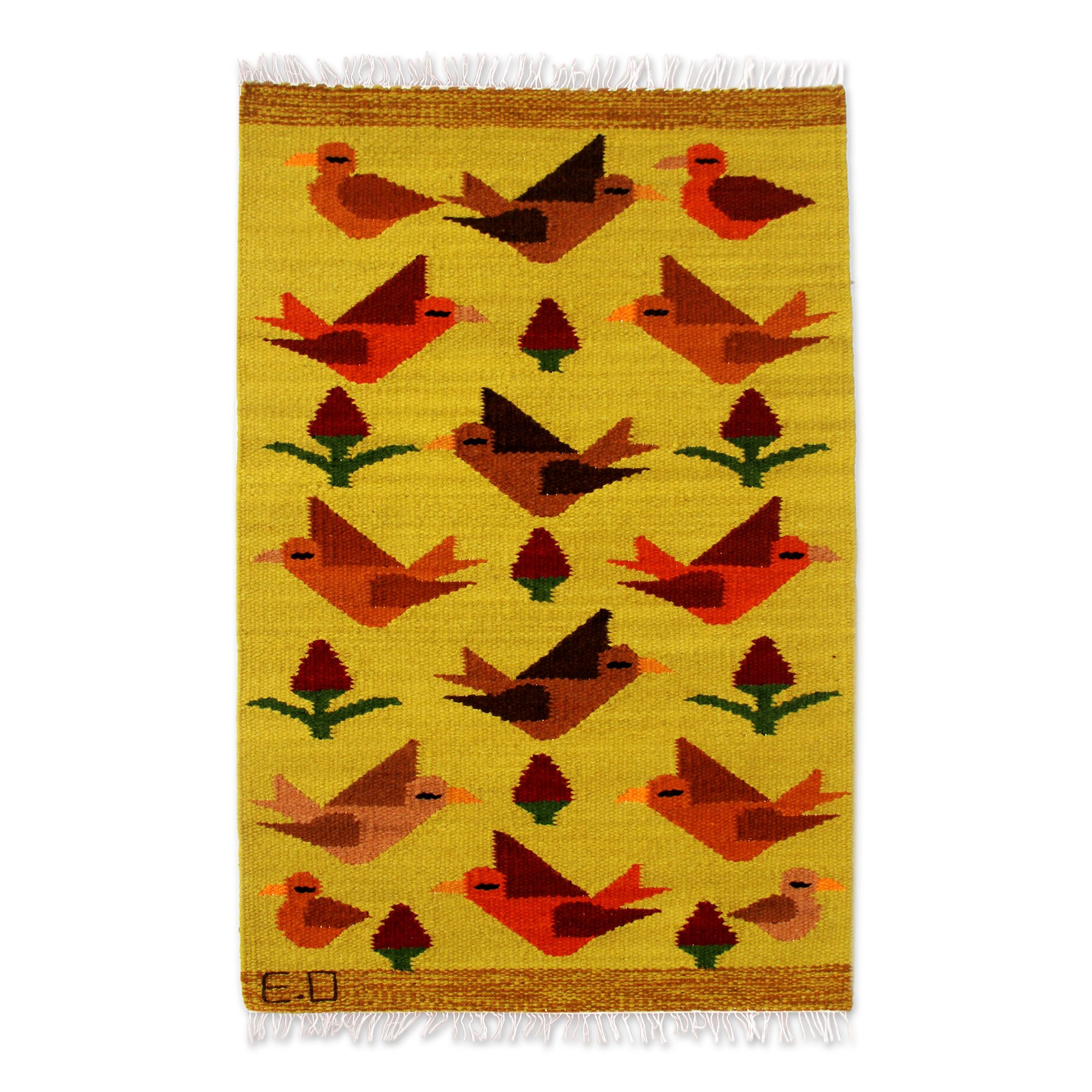 Peruvian Bird Hand-Woven Yellow Area Rug