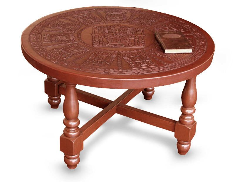 Mcneal Mohena Wood and Leather Coffee Table