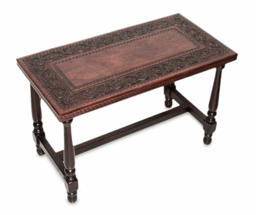 Mclane Foliage Mohena Wood and Leather Coffee Table