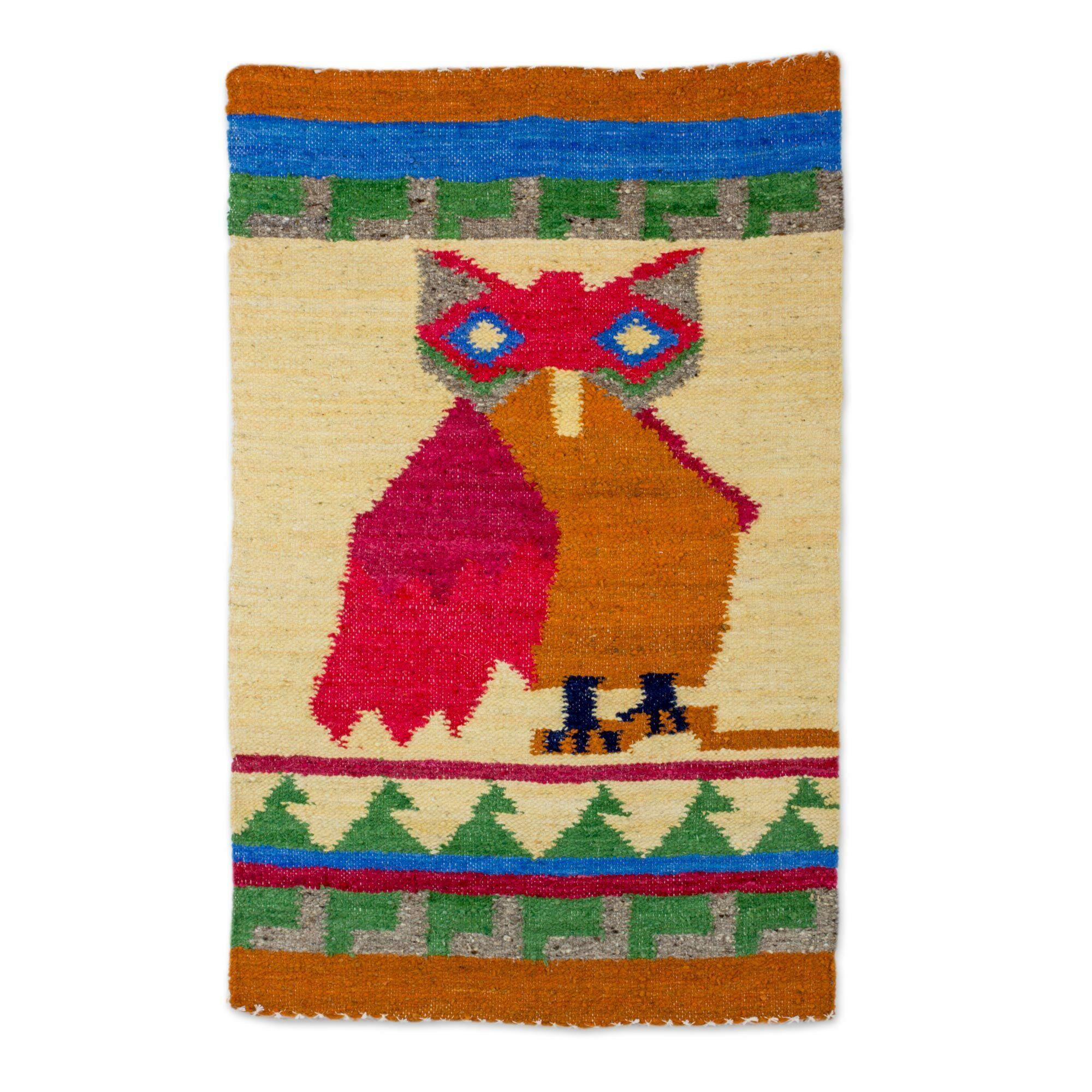 Rickman Mayan Owl Hand-Woven Wool Red/Blue Area Rug