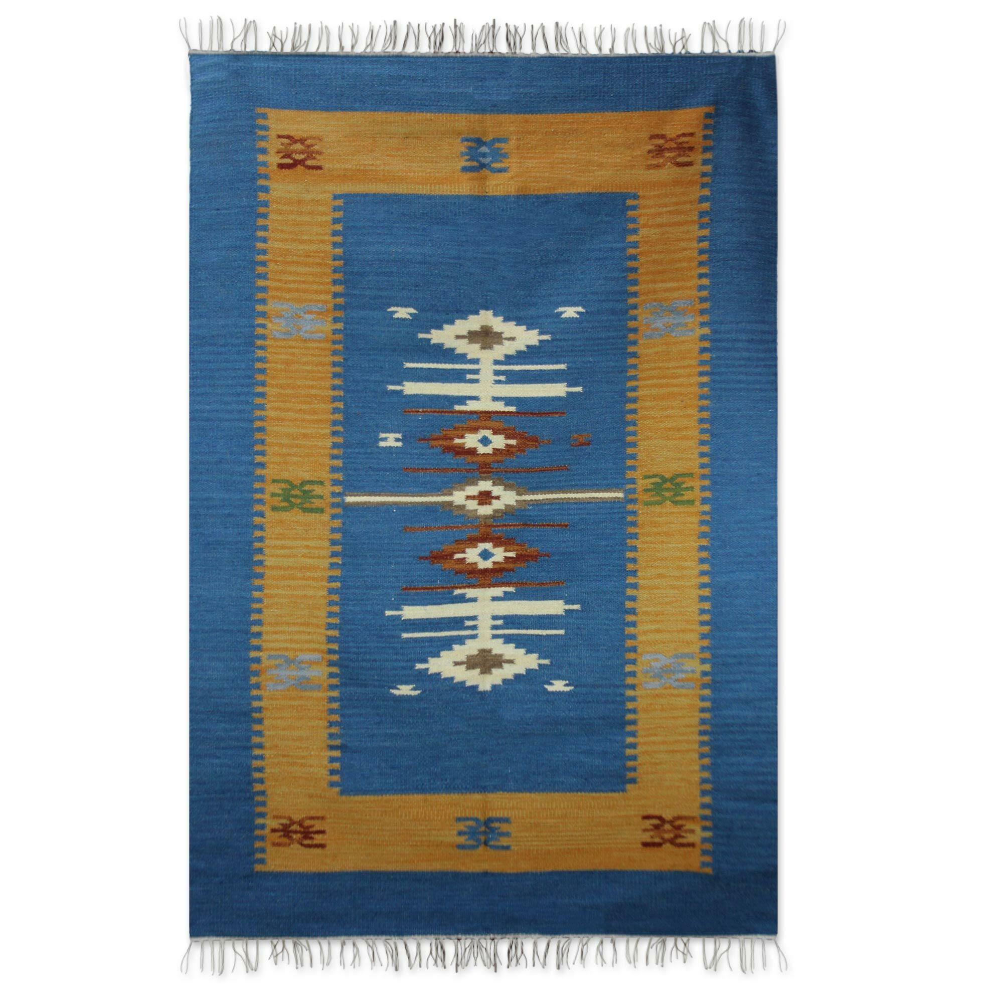 Rheinfels Dhurrie Hand-Woven Wool Blue Area Rug