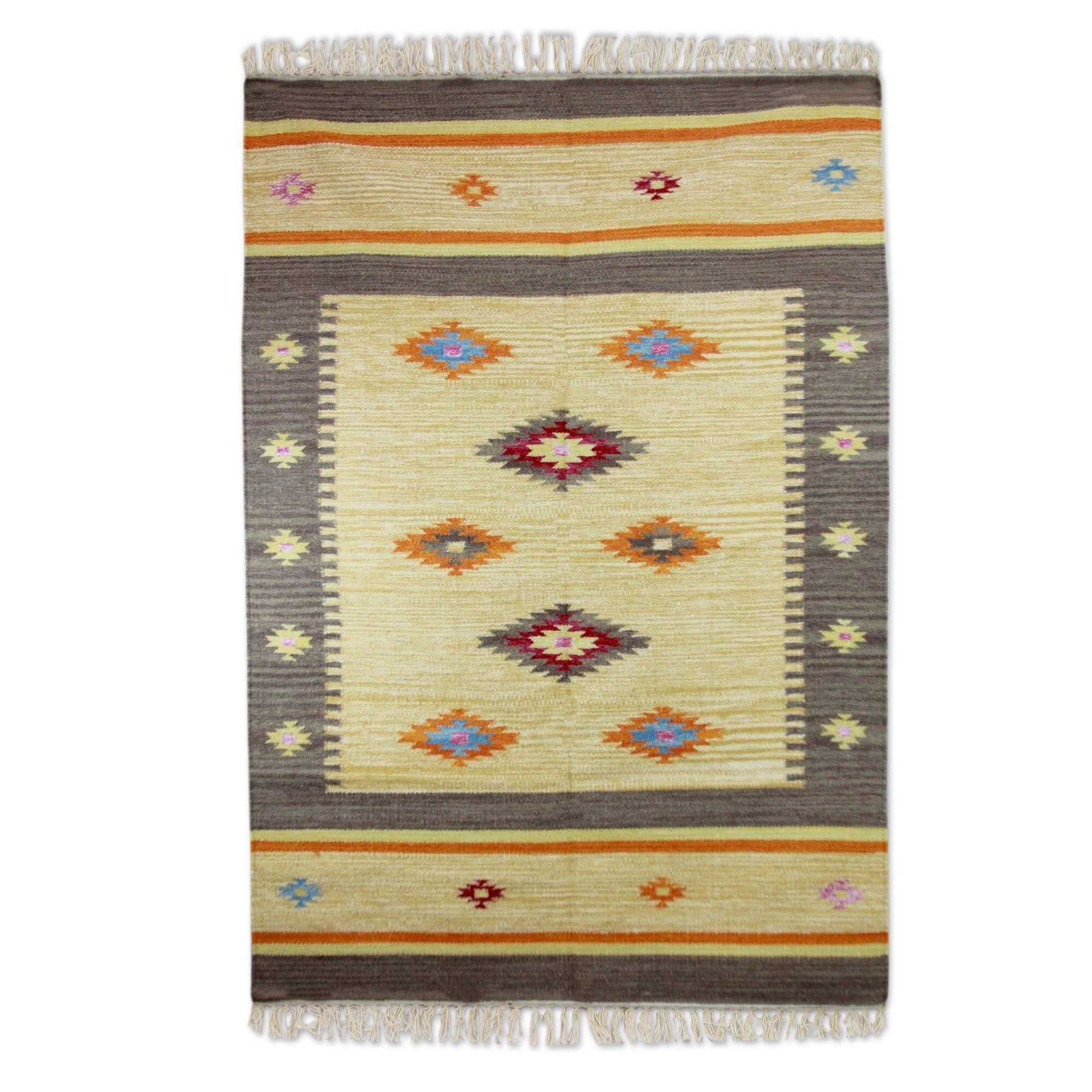 Muldoon Dhurrie Festive Stars Hand-Woven Wool Yellow Area Rug