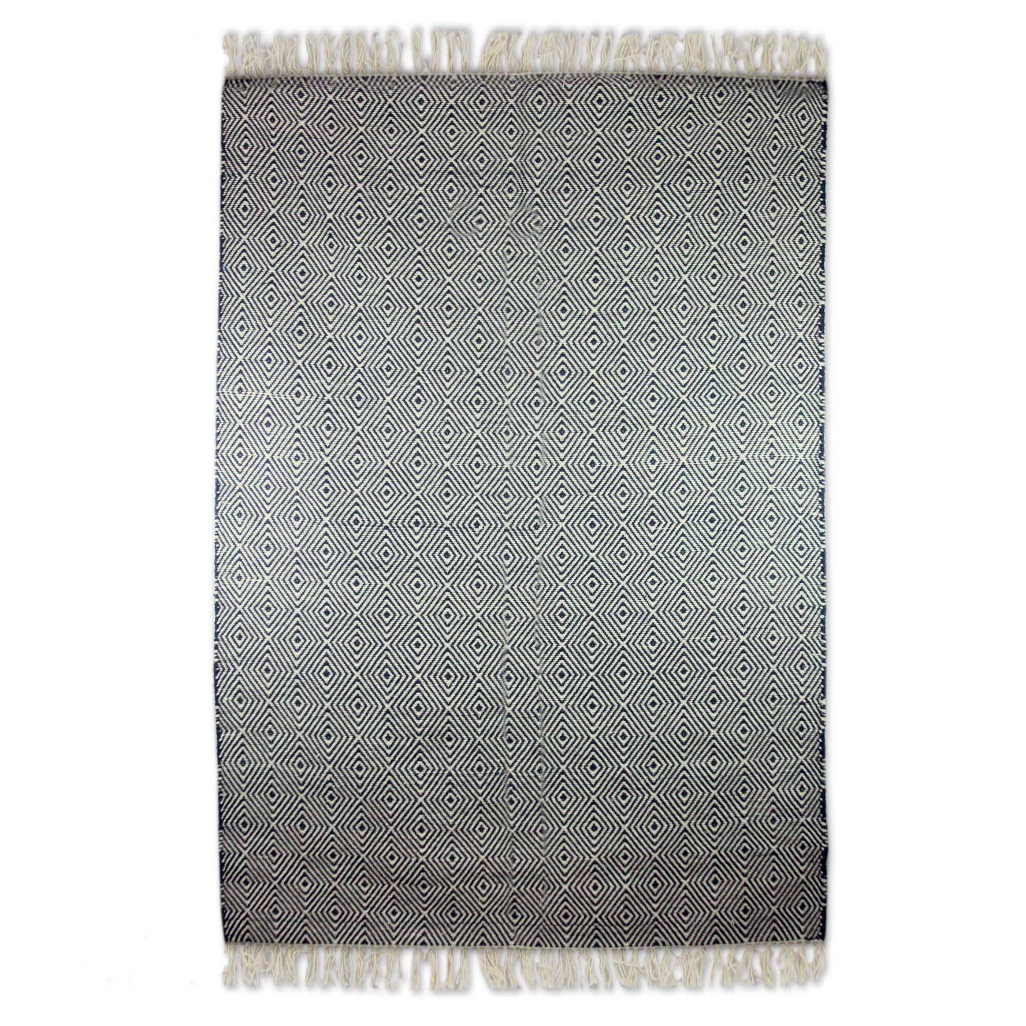 Redmond Mesmerizing Diamonds Dhurrie Hand-Woven Wool Gray Area Rug