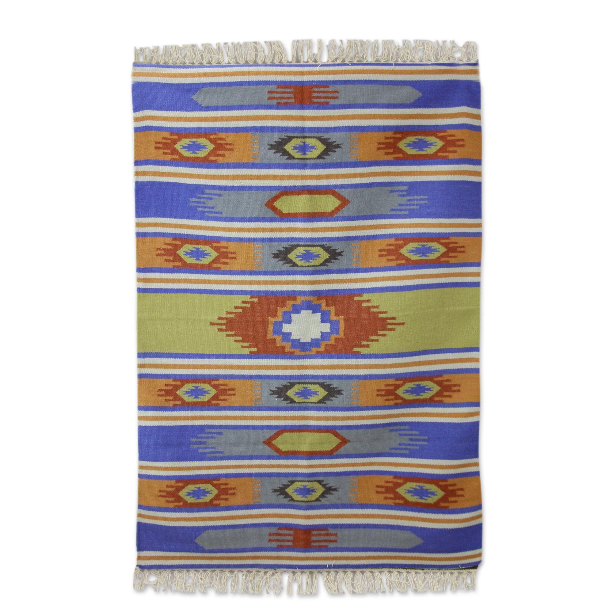 Muhammad Dhurrie Holi Delhi Hand-Woven Wool Orange/Blue Area Rug