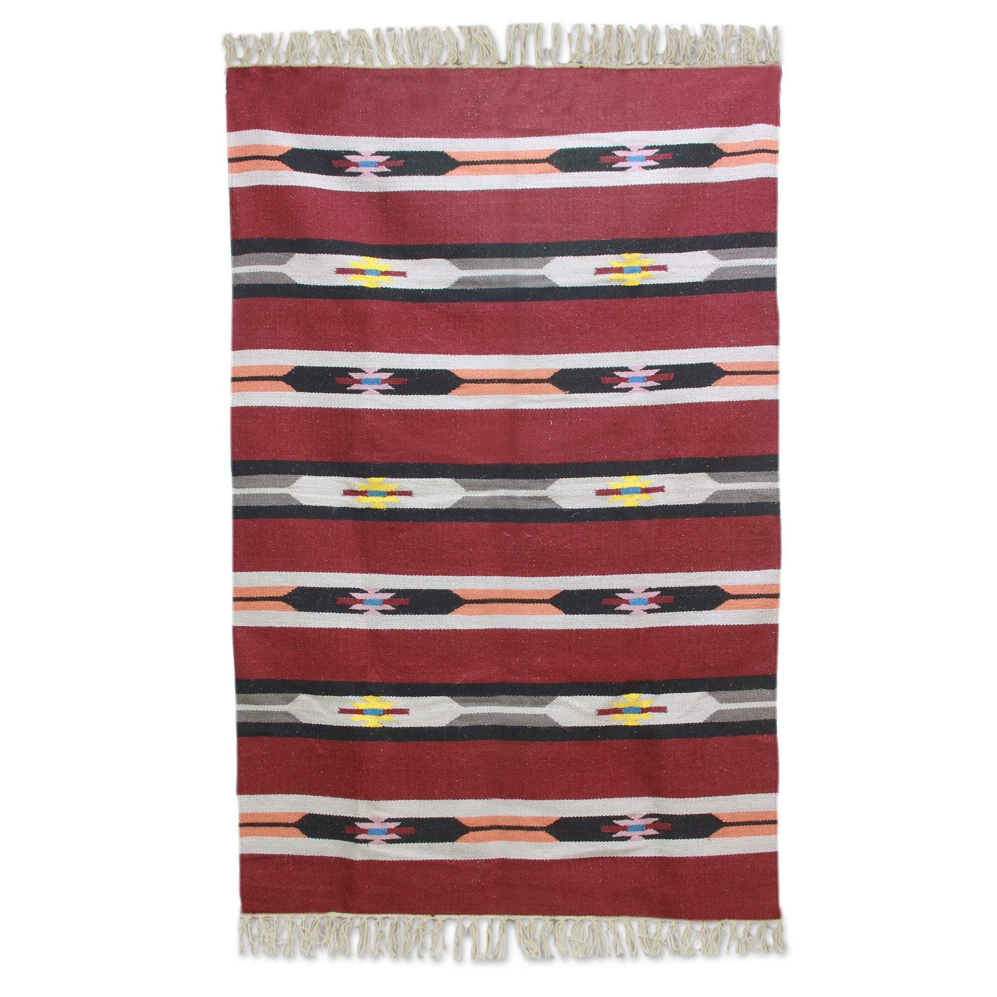 Regent's Cherry Delight Hand-Woven Wool Red Area Rug