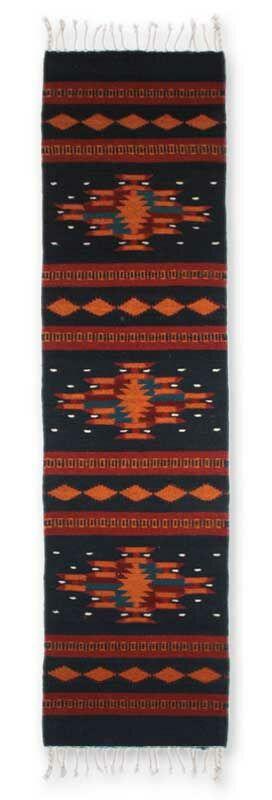 Weare Night Sky Hand-Woven Wool Blue/Red Area Rug