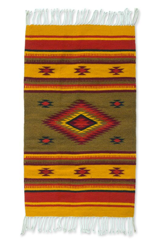 Reculver Hand-Woven Wool Yellow/Red Area Rug