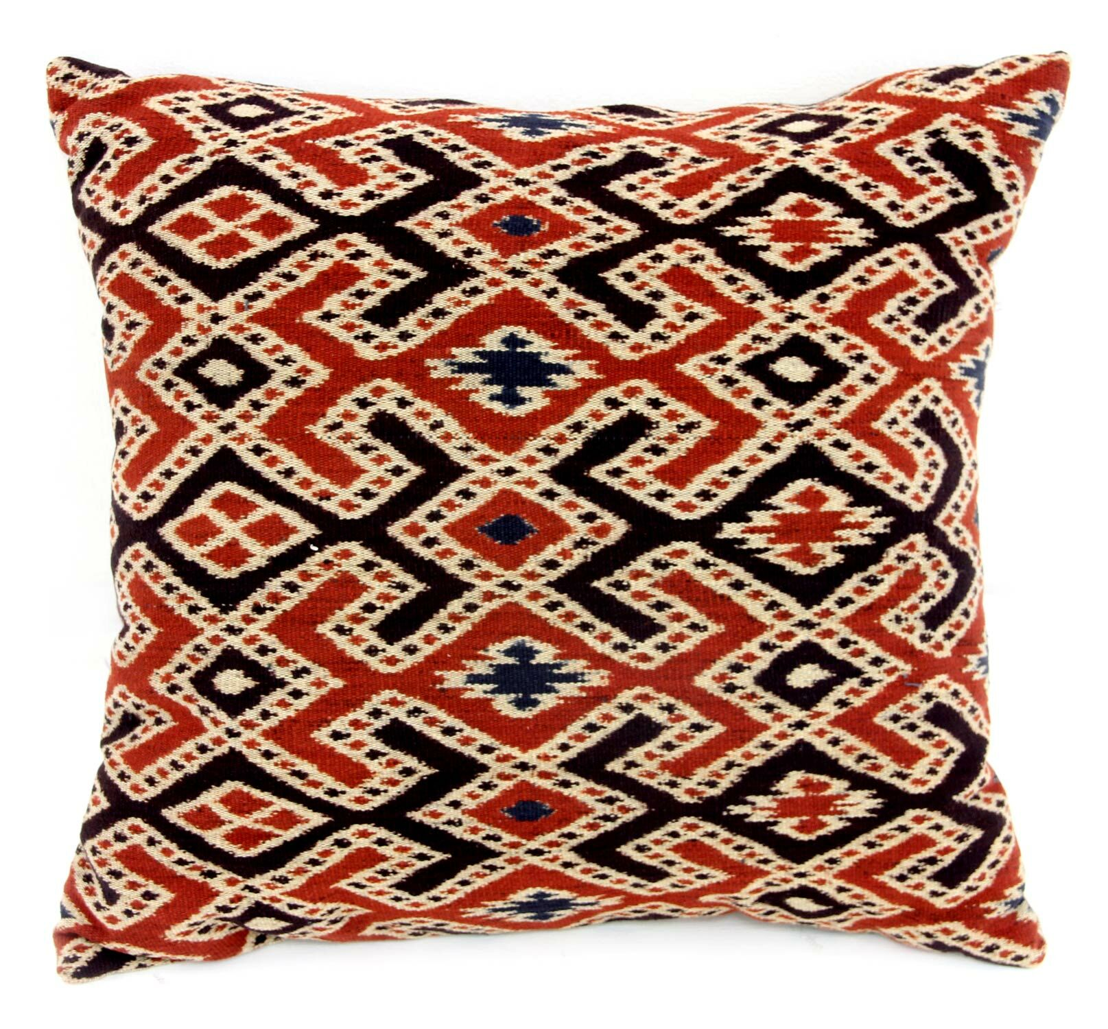 The Threads of Life Handwoven Ikat Cotton Throw Pillow