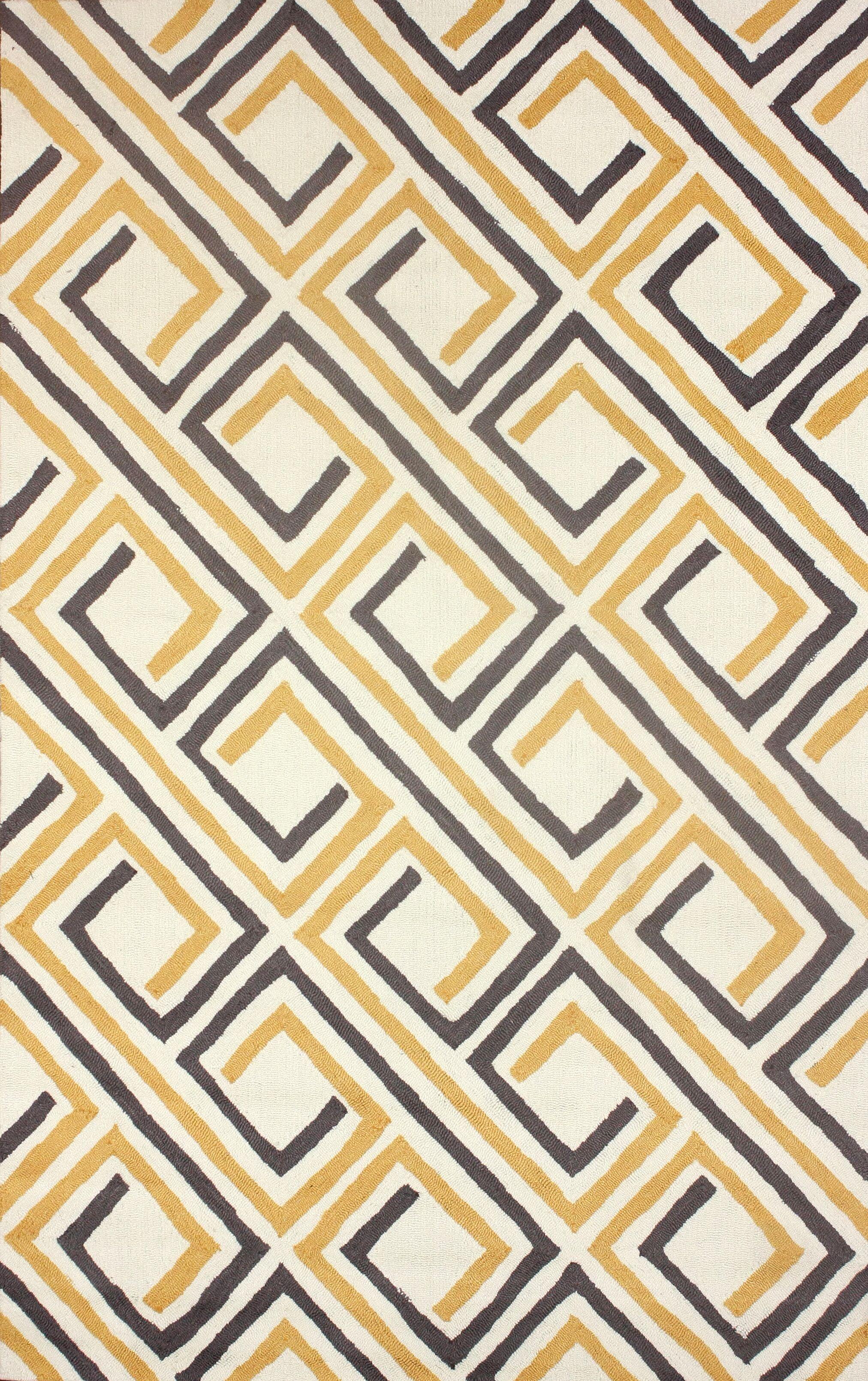 Uzbek Hand-Hooked Yellow/Gray Area Rug Rug Size: Rectangle 7'6