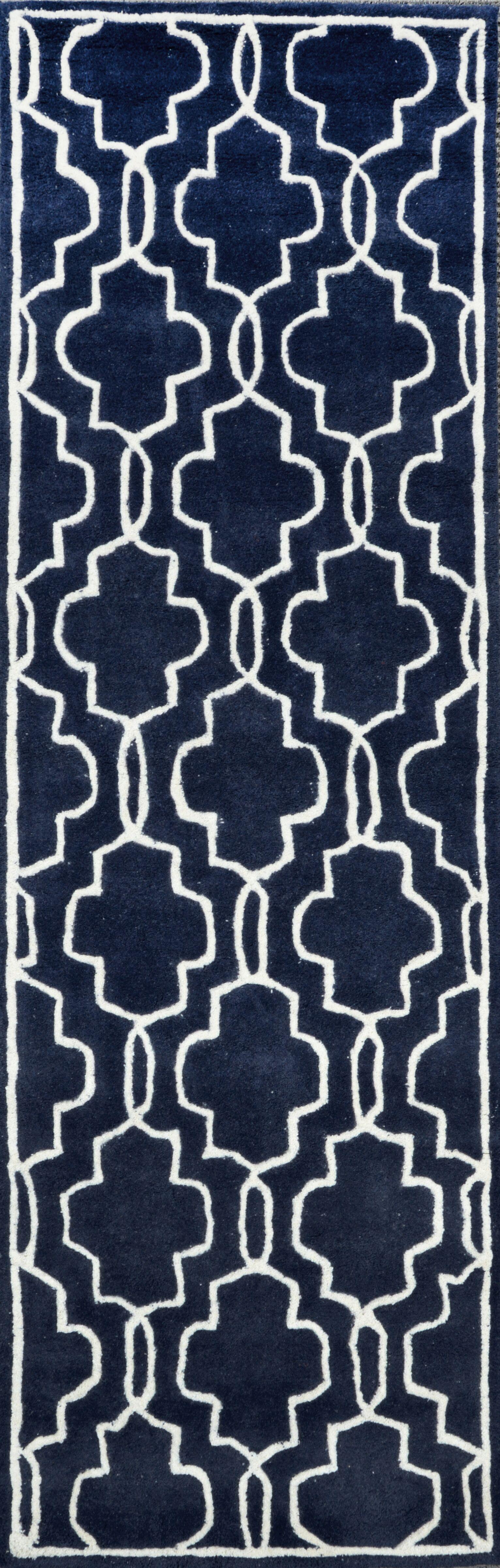 Venice Hand-Tufted Wool Dark Blue Area Rug Rug Size: Runner 2'6