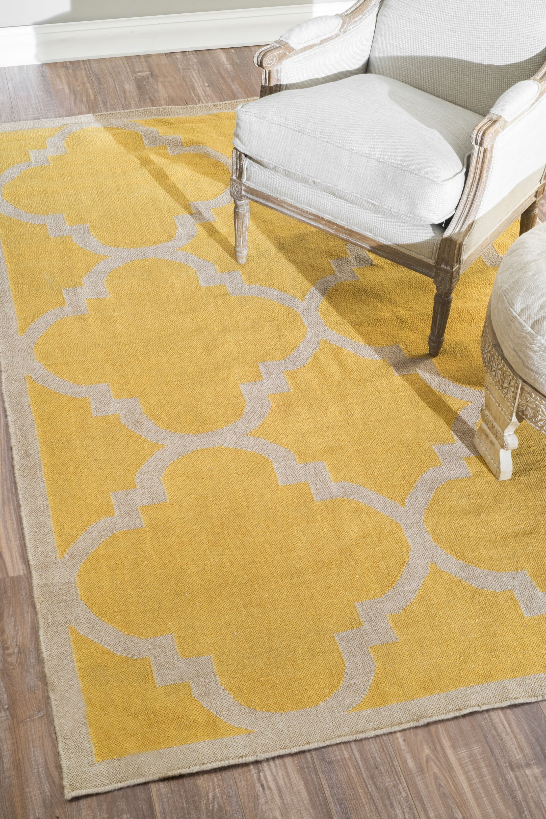 Bevon Yellow Area Rug Rug Size: Rectangle 8'6