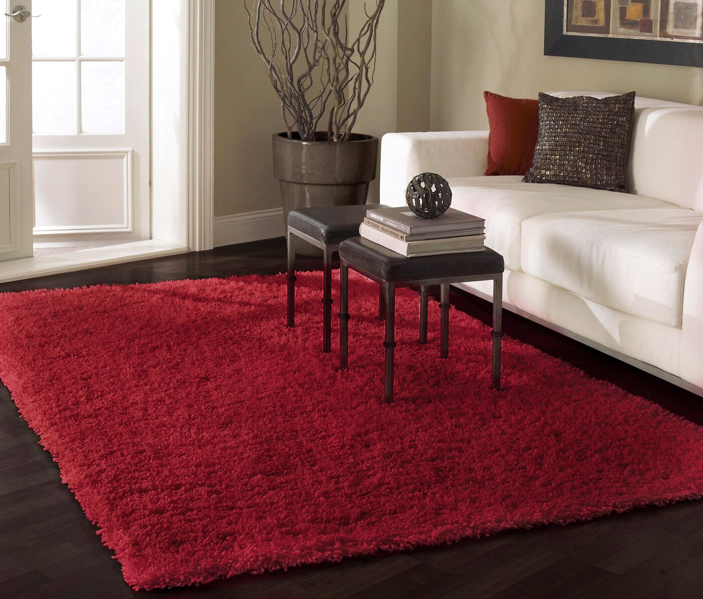 Shag Really Red Area Rug Rug Size: Rectangle 9' 2