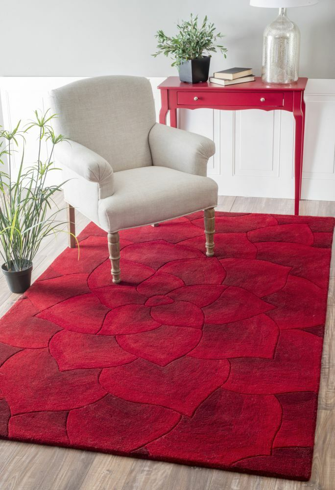 Moderna Hand-Tufted Red Area Rug Rug Size: Rectangle 5' x 8'