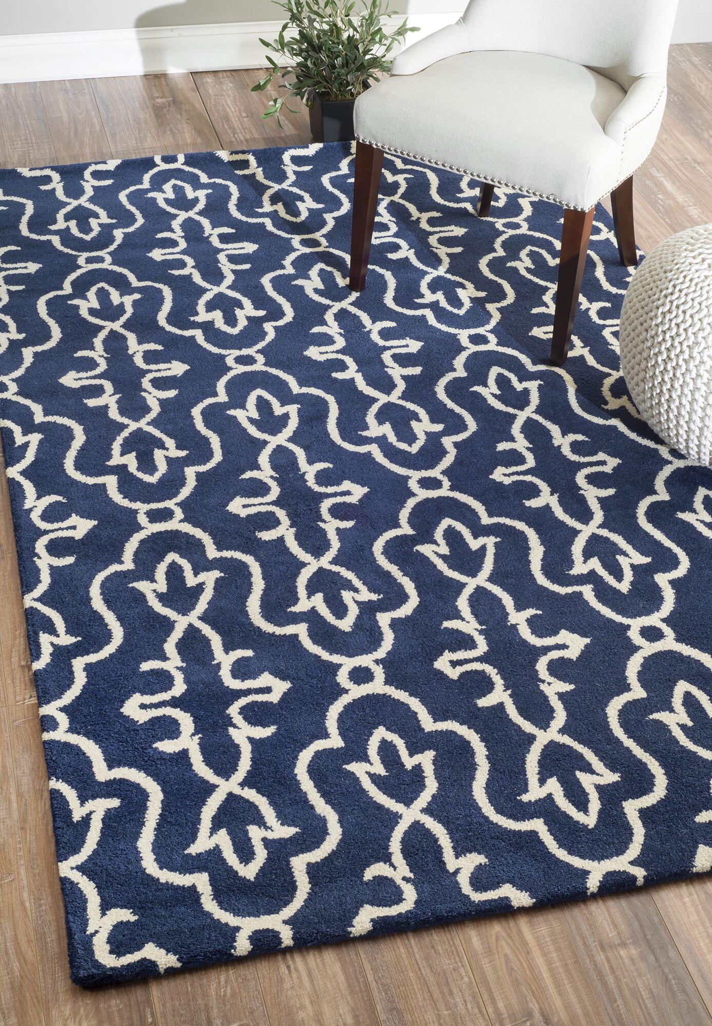 Amalfi Hand-Tufted Wool Navy Area Rug Rug Size: Rectangle 7'6