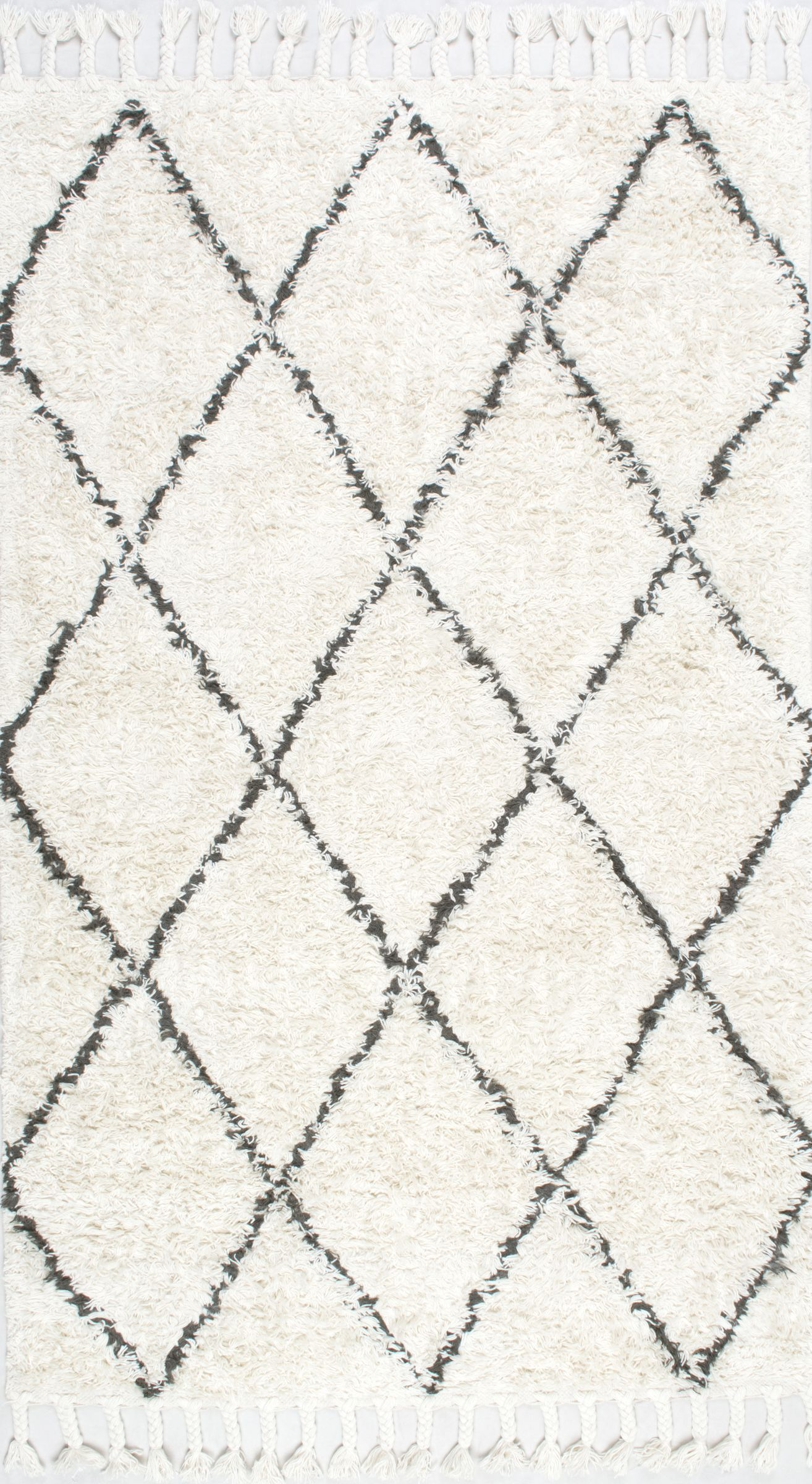 Twinar Hand-Knotted Wool Off White/Dark Grey Area Rug Rug Size: Rectangle 10' x 14'