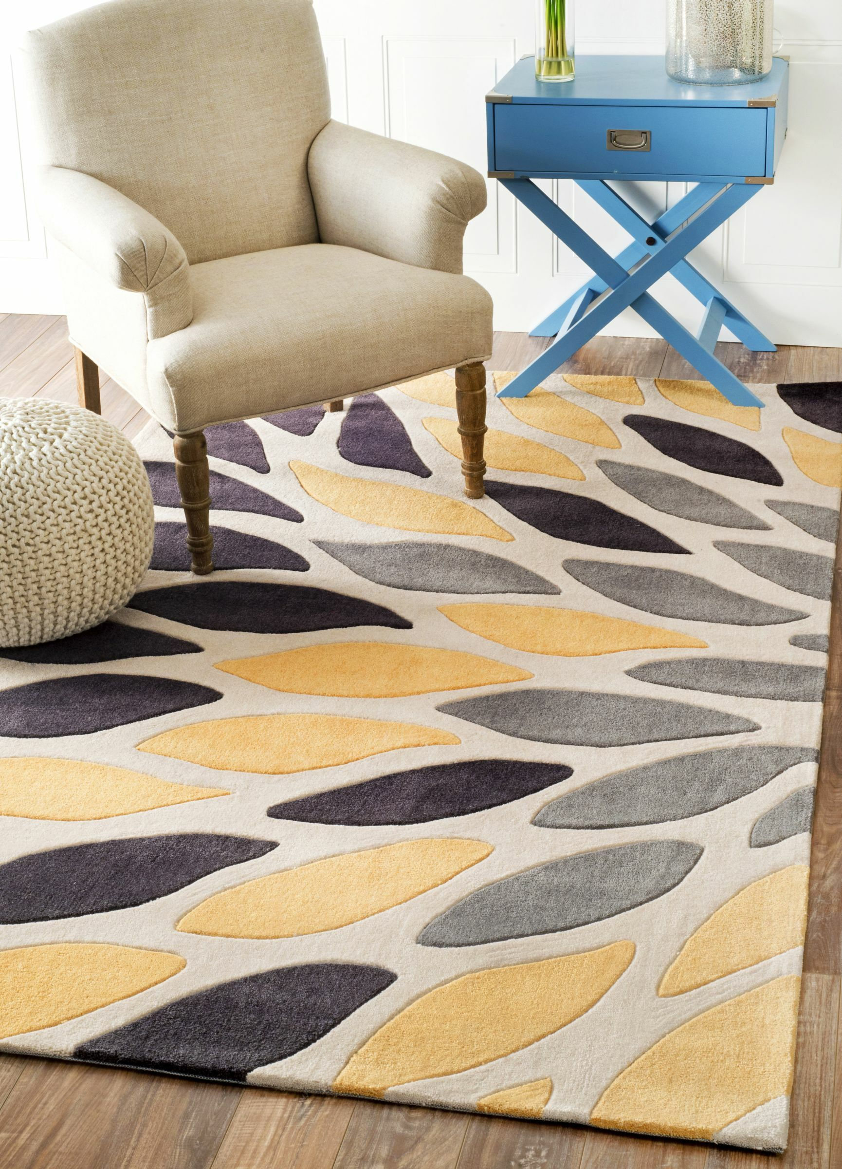 Augustine Hand-Tufted Black/Yellow Area Rug Rug Size: Rectangle 4' x 6'