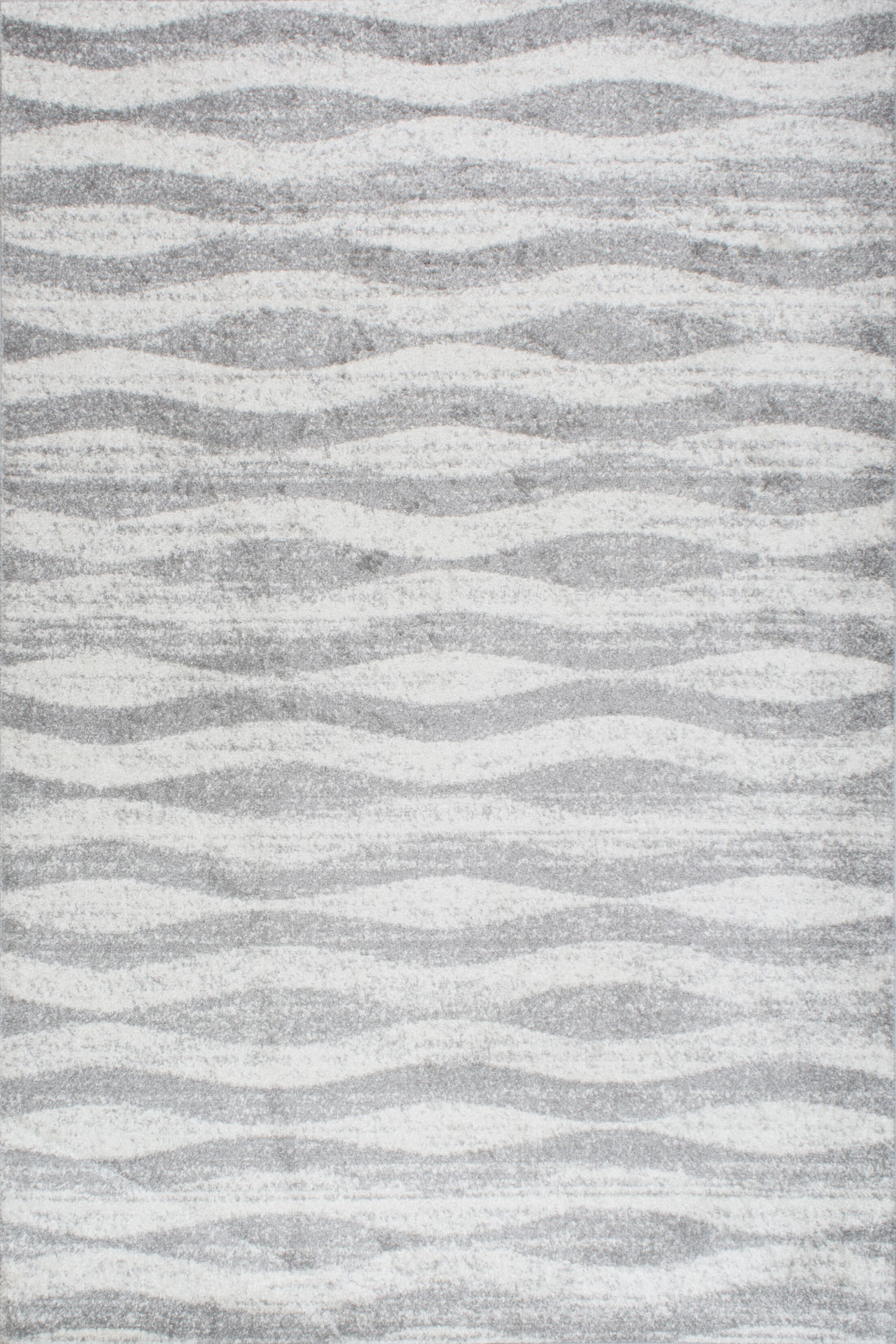Lada Abstract Waves Gray/White Area Rug Rug Size: Rectangle 7'6