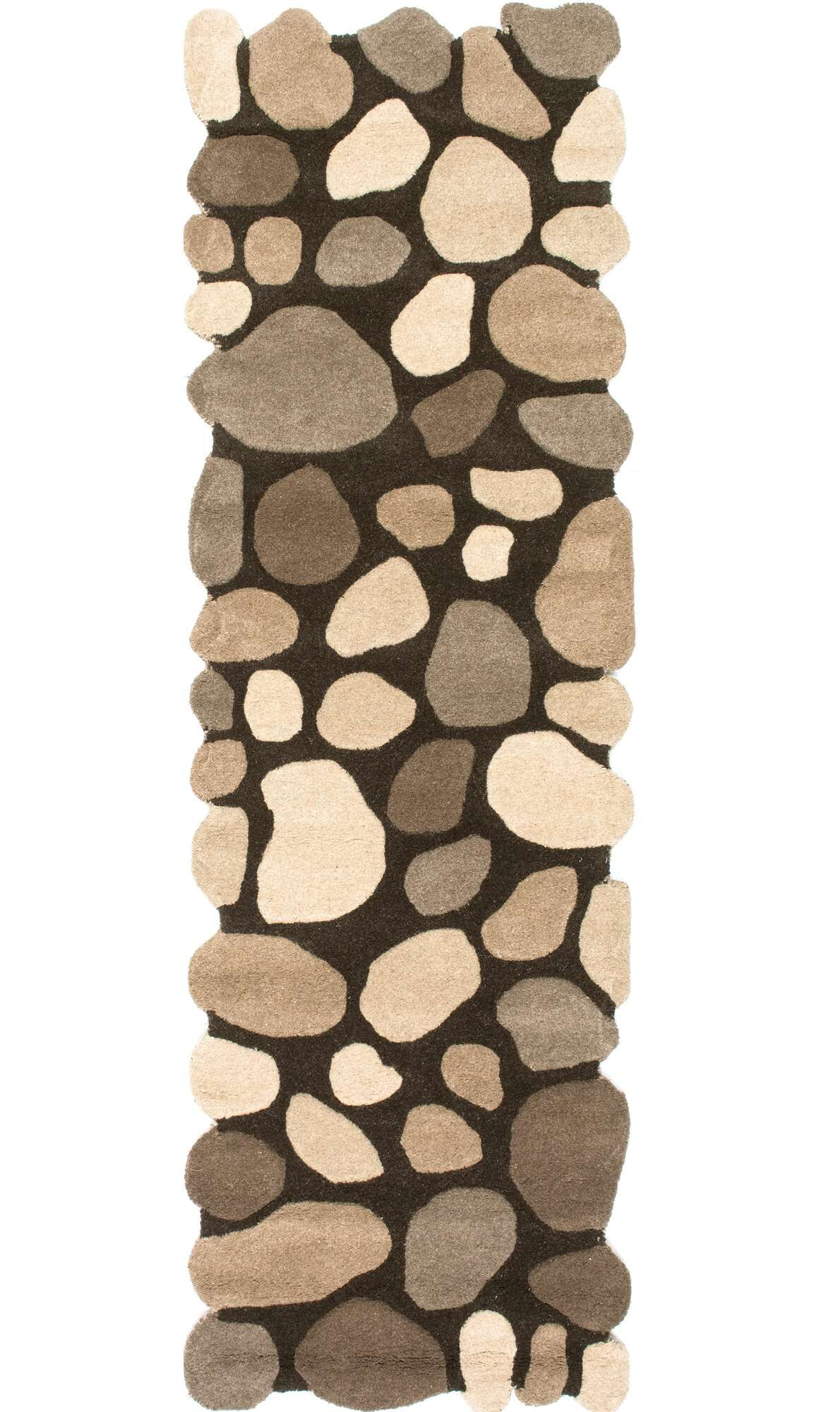 Alpert Pebbles Hand-Tufted Dark Brown Area Rug Rug Size: Runner 2'6