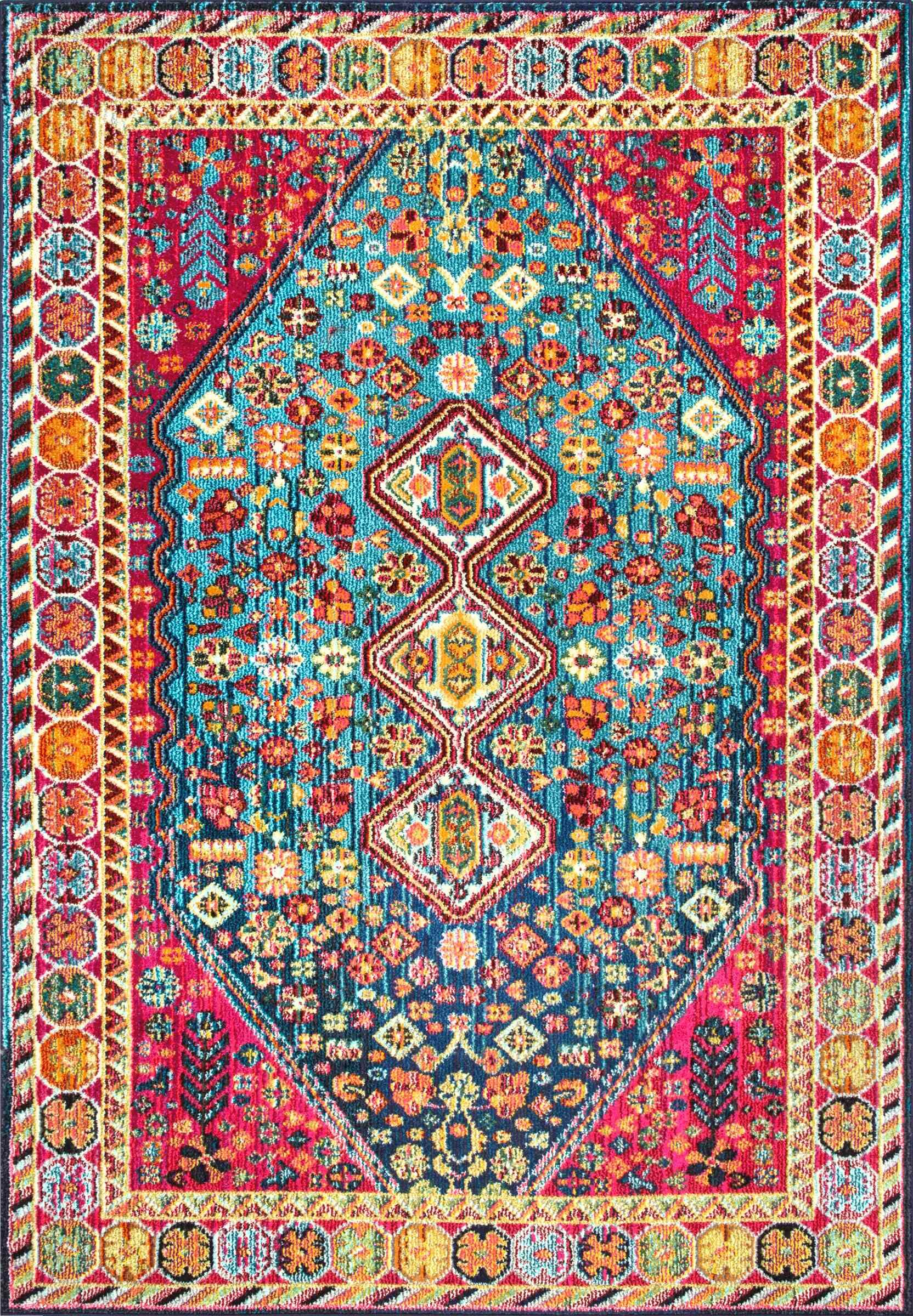 Azemmour Blue/Pink Area Rug Rug Size: Rectangle 5'3