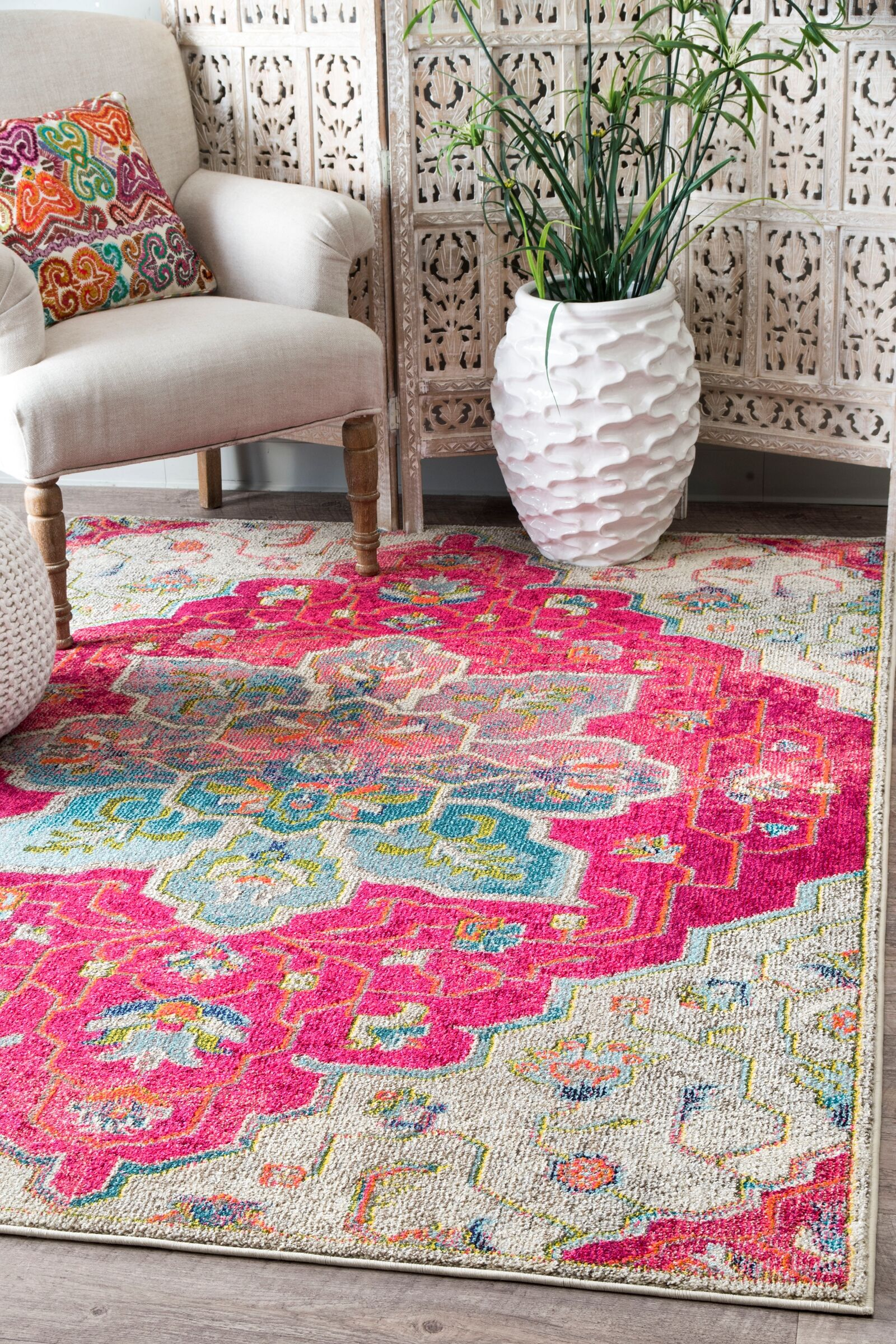 Maricopa Pink/Blue Area Rug Rug Size: Rectangle 5'3