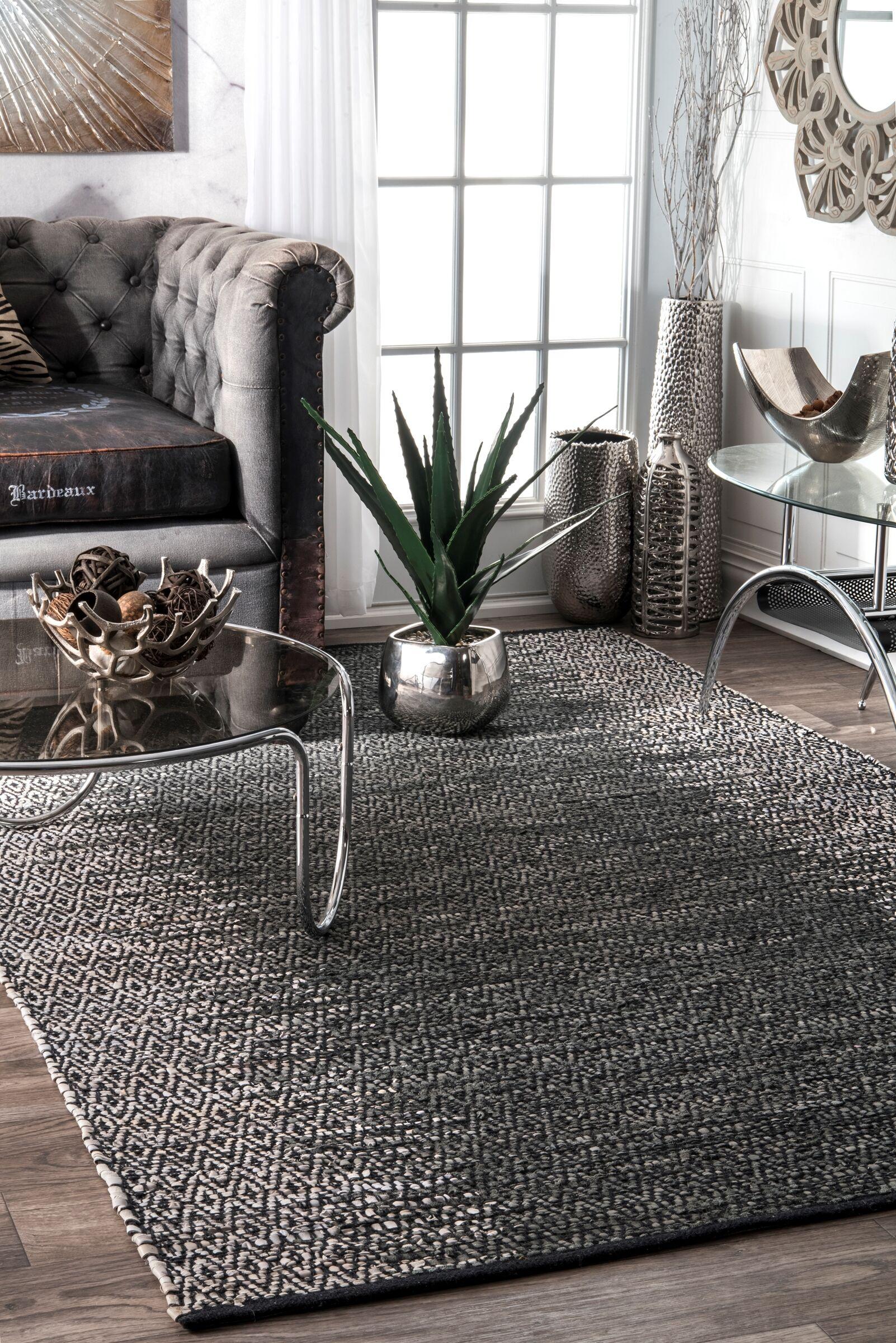 Duhon Hand-Woven Gray Area Rug Rug Size: Rectangle 5' x 8'