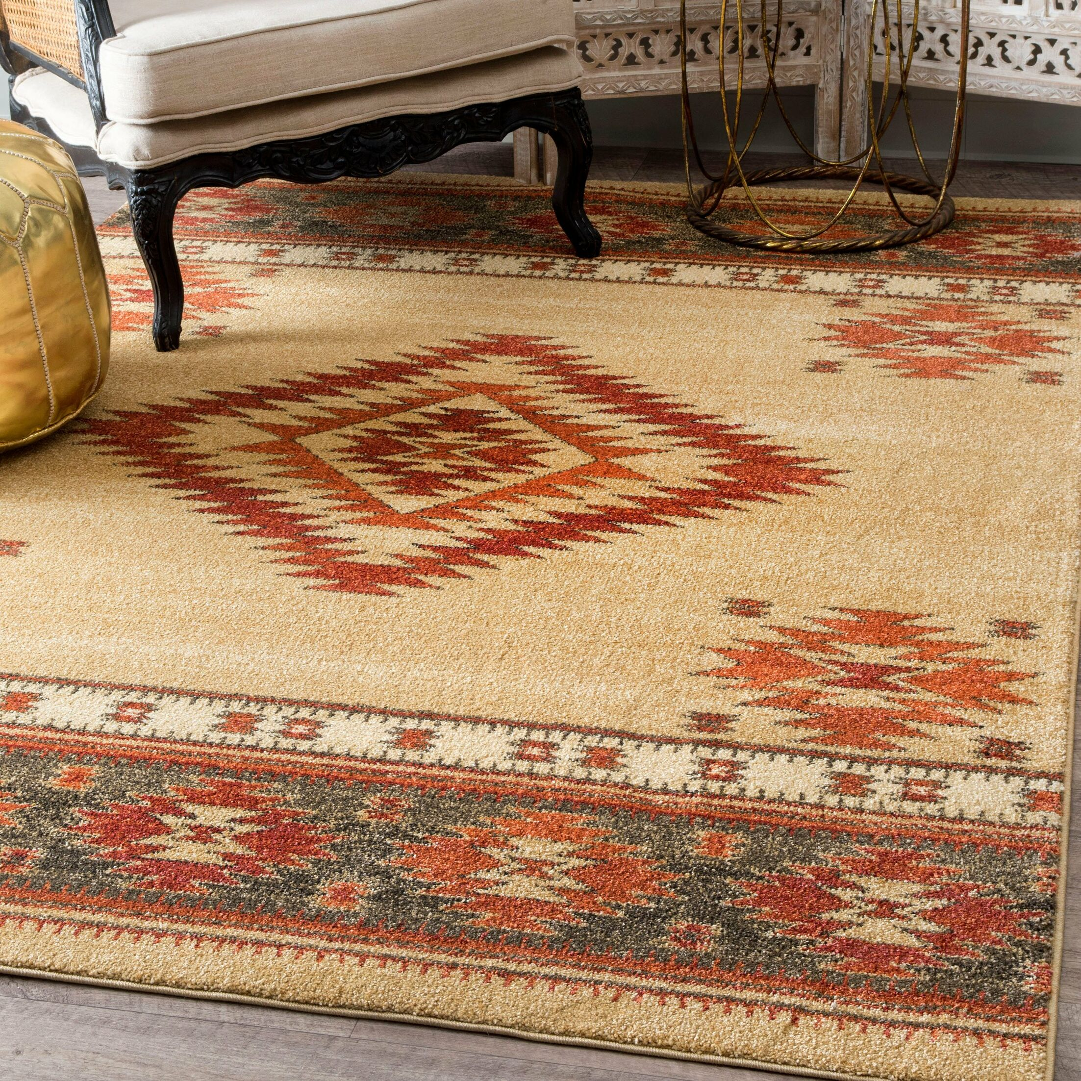 Oswego Beige/Red Area Rug Rug Size: Rectangle 5' x 7'5