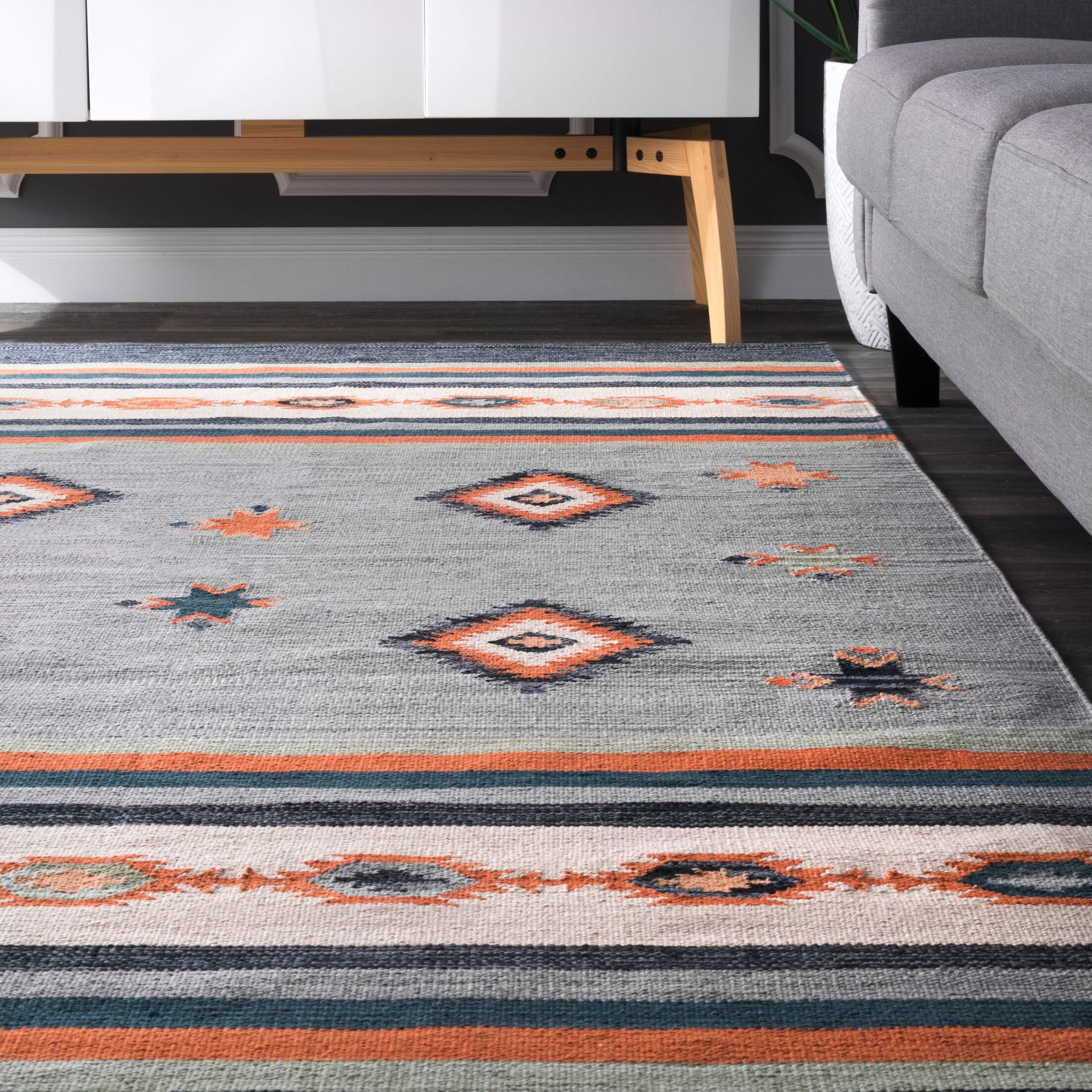 Hailer Hand Loomed Cotton Gray/Orange Area Rug Rug Size: Rectangle 6' x 9'