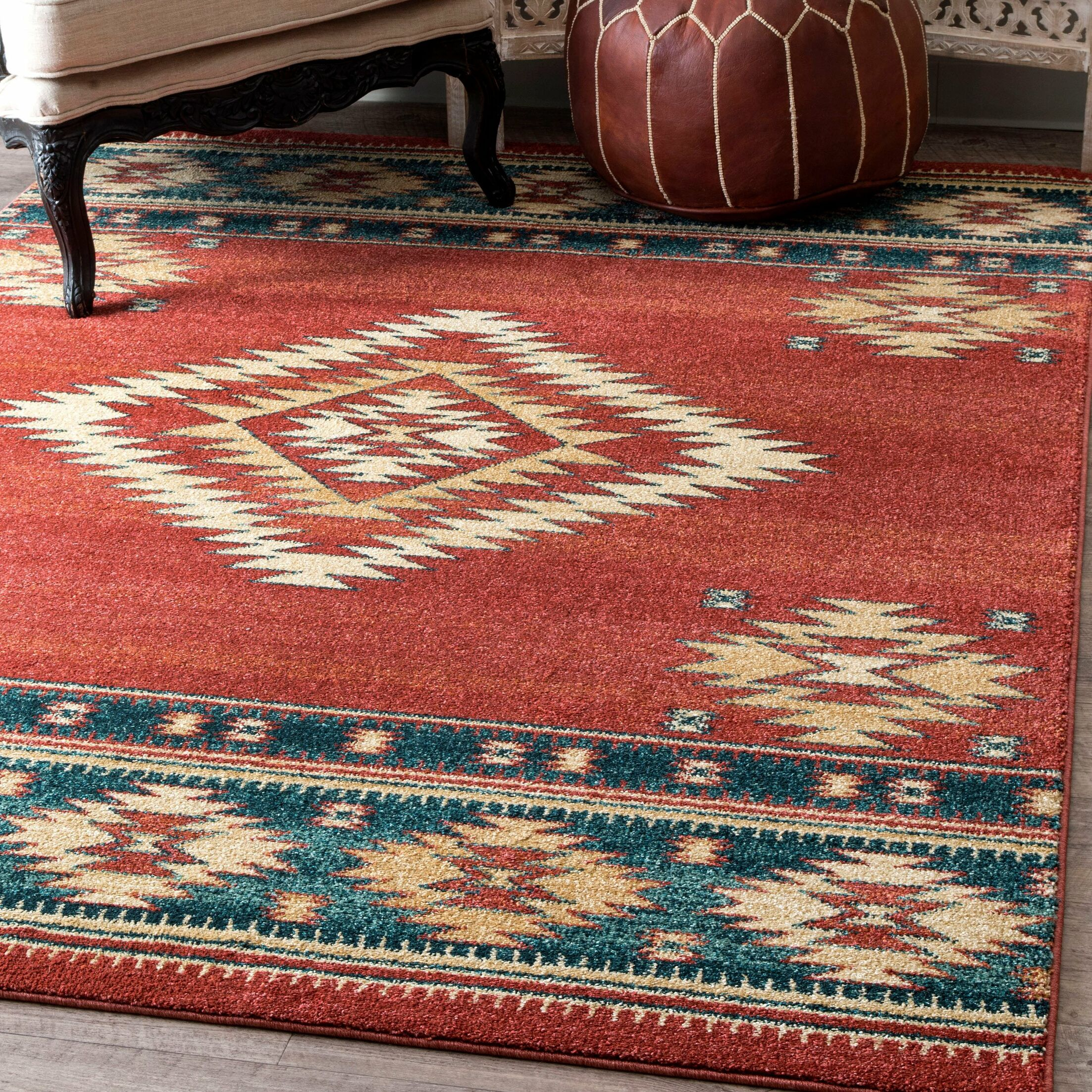 Lachine Red/Blue Area Rug Rug Size: Rectangle 4' x 6'
