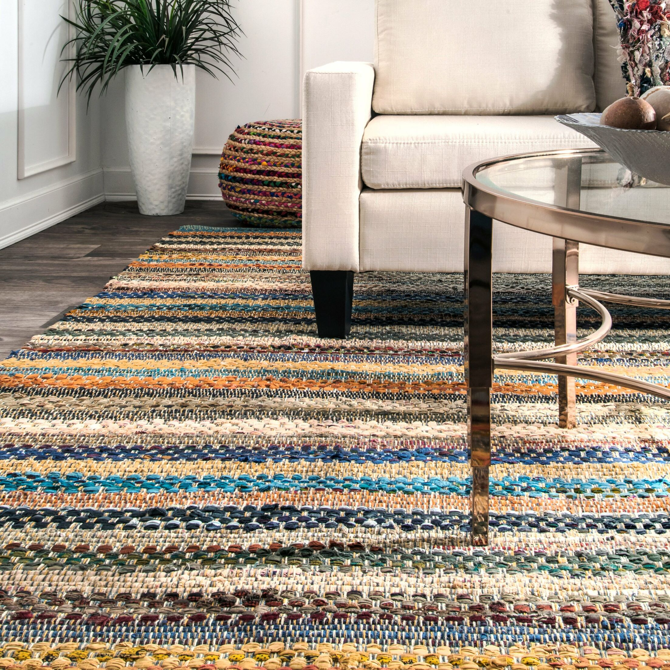 Dana Point Hand Loomed Cotton Gray/Beige Area Rug Rug Size: Rectangle 5' x 8'