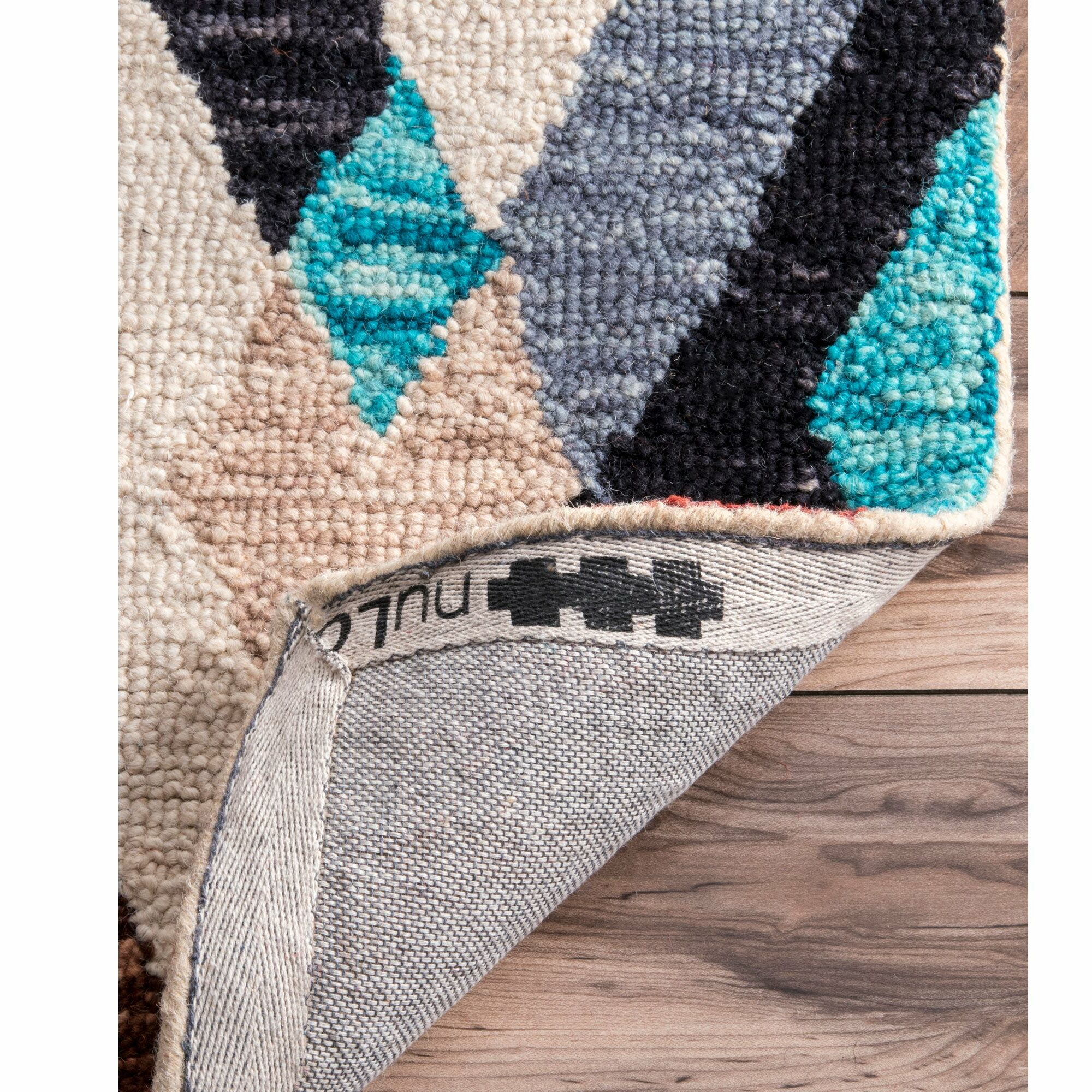 Yarbrough Hand Tufted Wool Blue/Pink/Brown Area Rug Rug Size: Rectangle 7'6