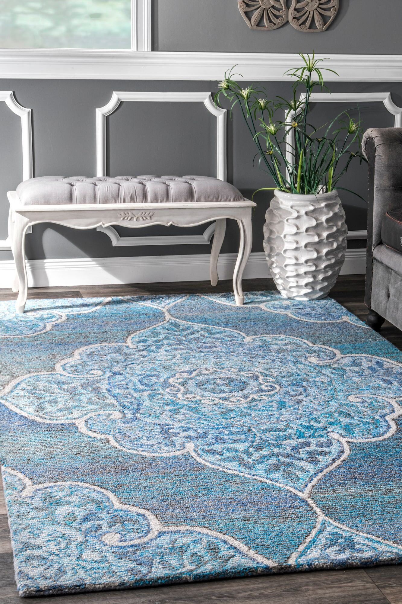 Norristown Hand Tufted Blue Area Rug Rug Size: Rectangle 7'6