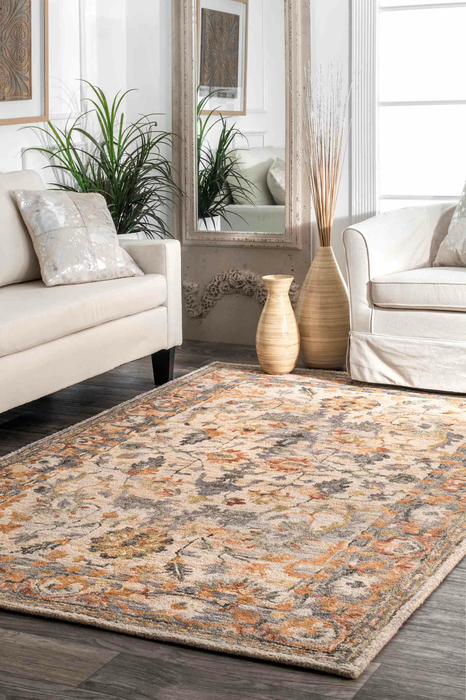 Morre Hand Tufted Wool Beige Area Rug Rug Size: Rectangle 7'6