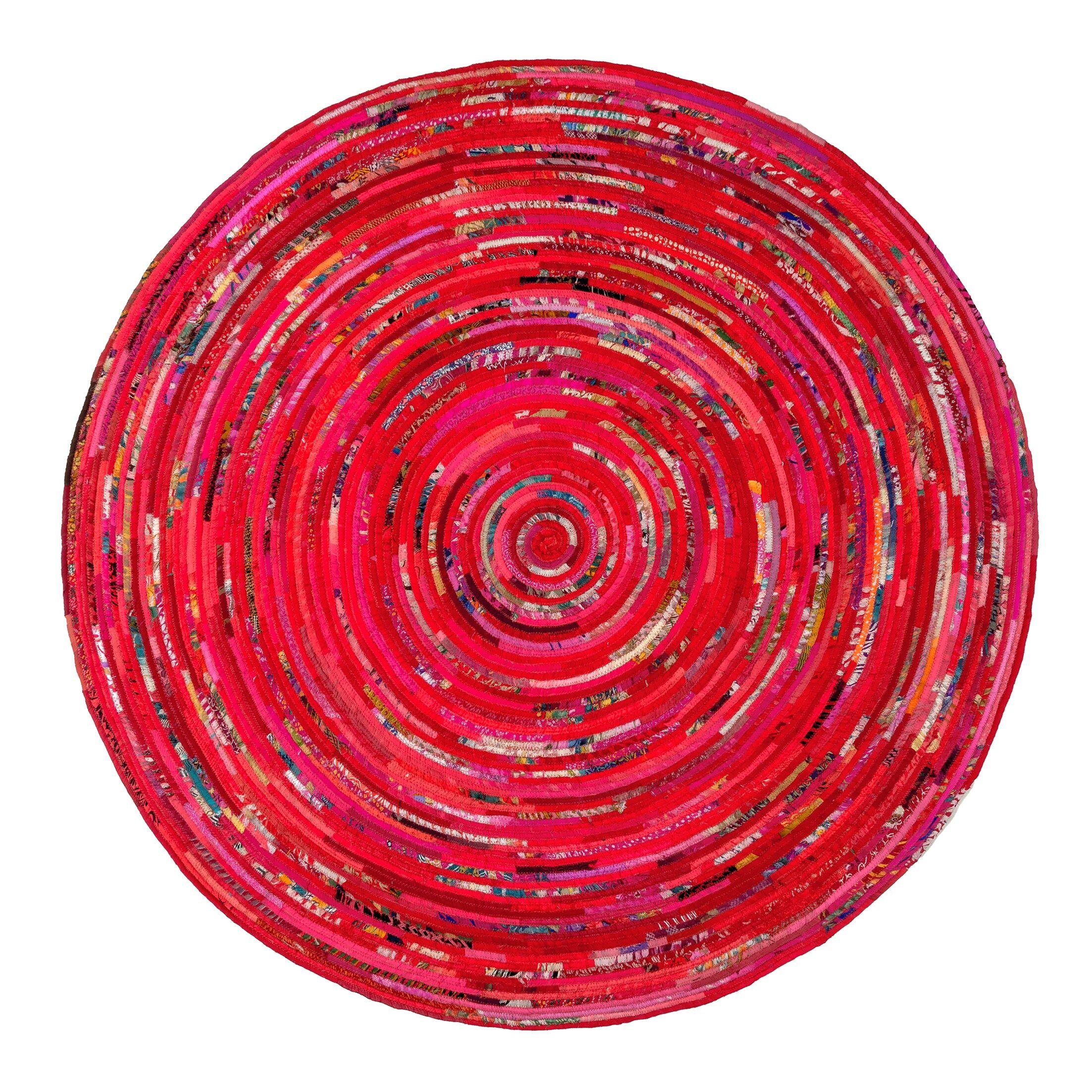 Verla Red Area Rug Rug Size: Round 6'
