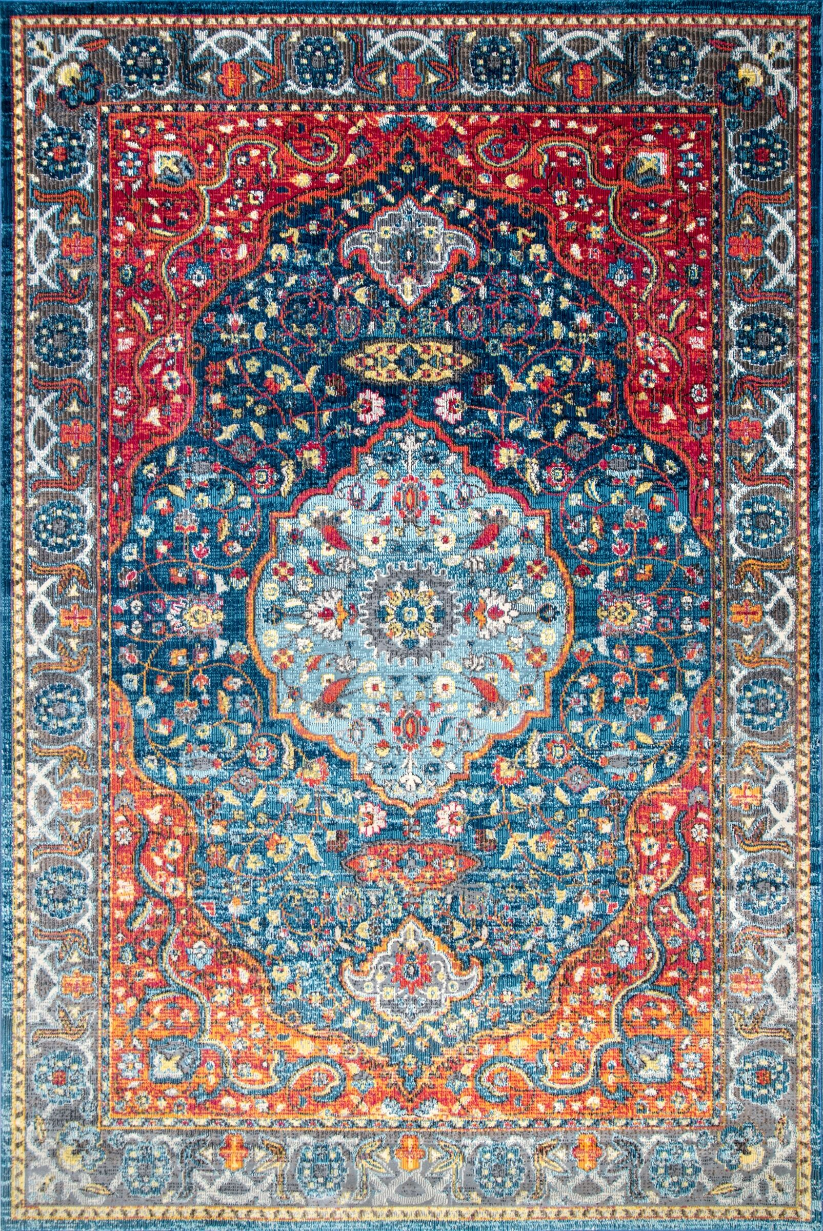Turien Blue/Red Area Rug Rug Size: Rectangle 7' 10