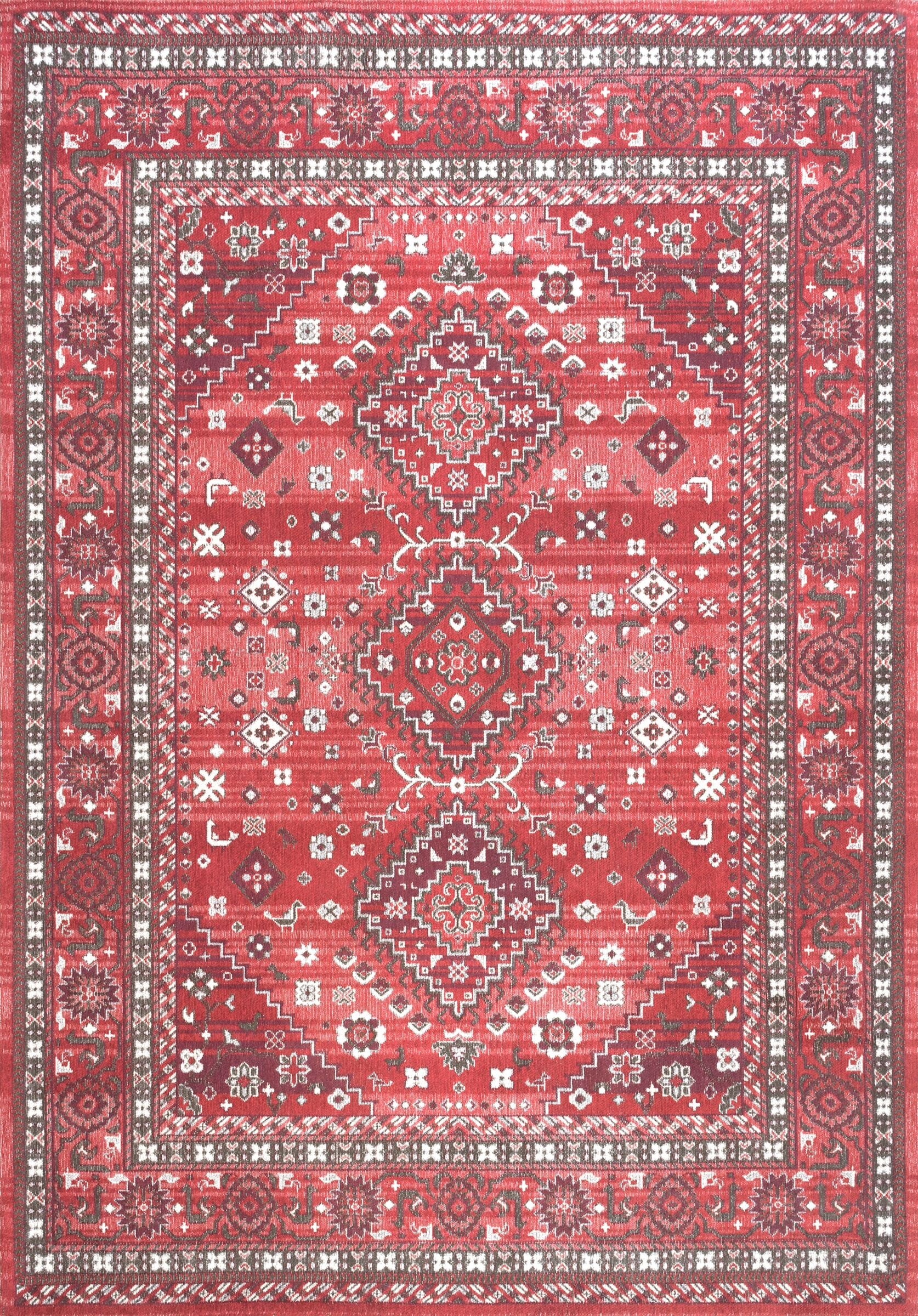 Venice Cotton Red Area Rug Rug Size: Rectangle 7' 6