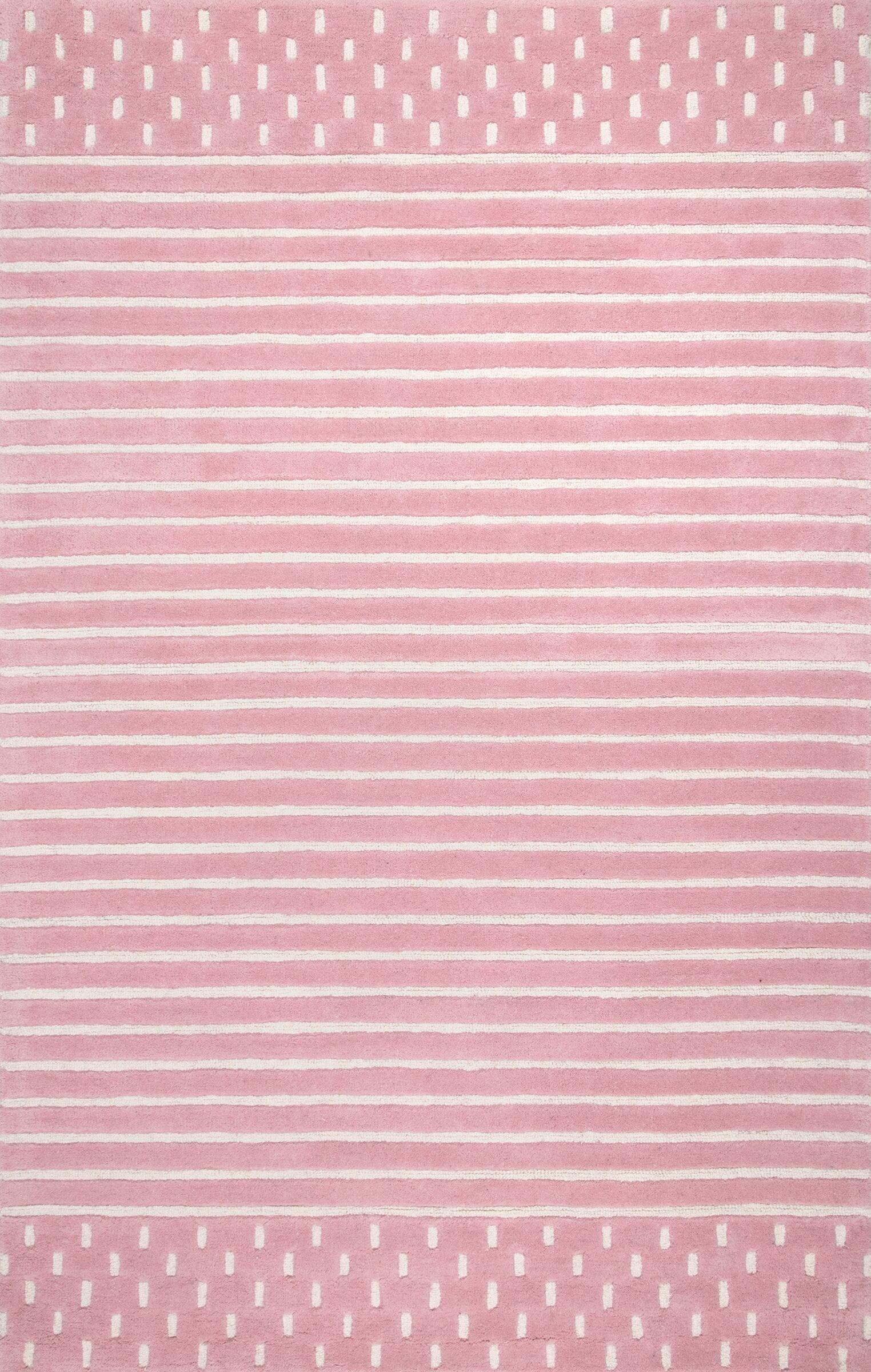 Baddeley Hand Woven Wool Pink Area Rug Rug Size: Rectangle 7' 6