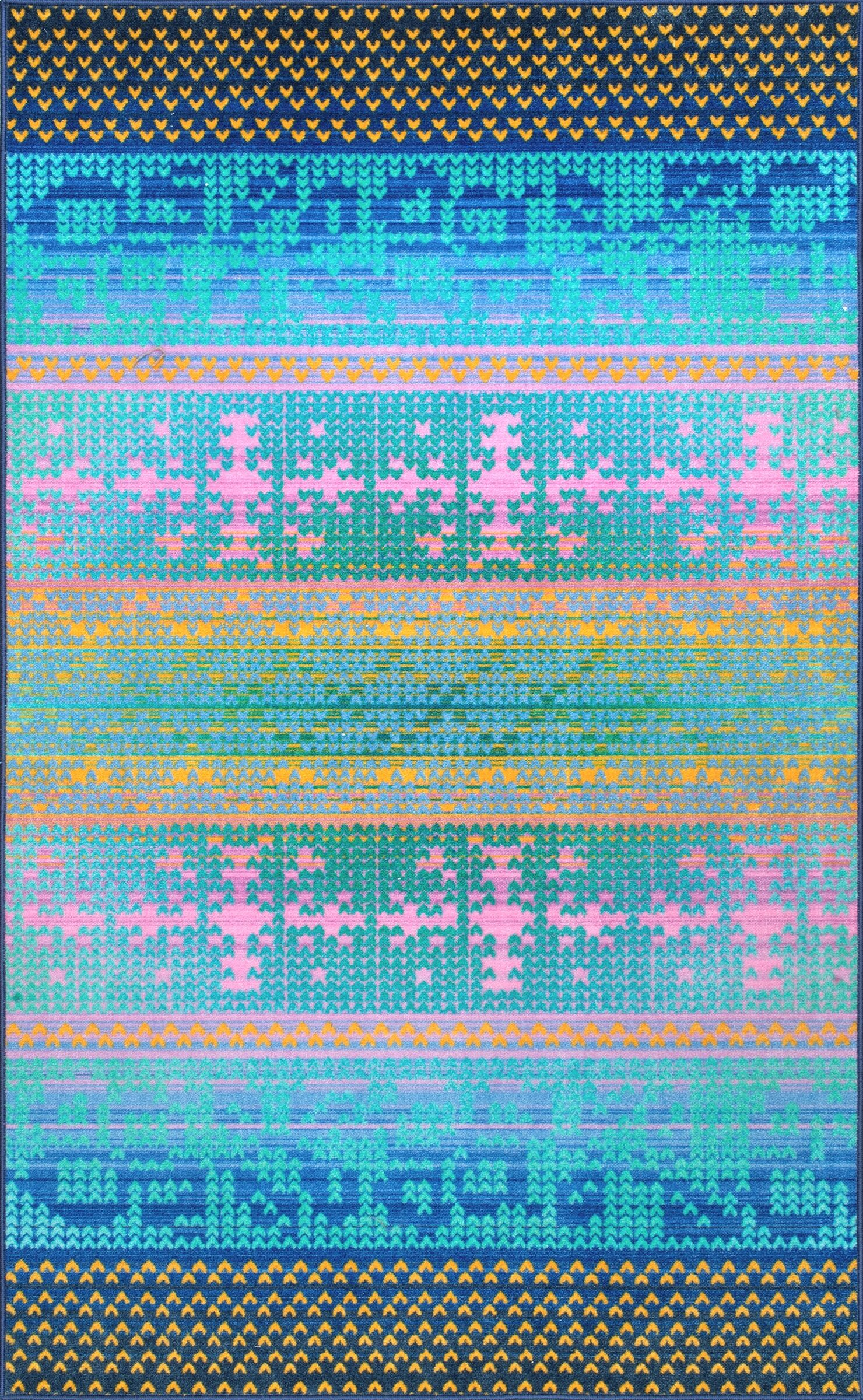 Veldhoven Blue/Yellow/Pink Area Rug Rug Size: Rectangle8' x 10'
