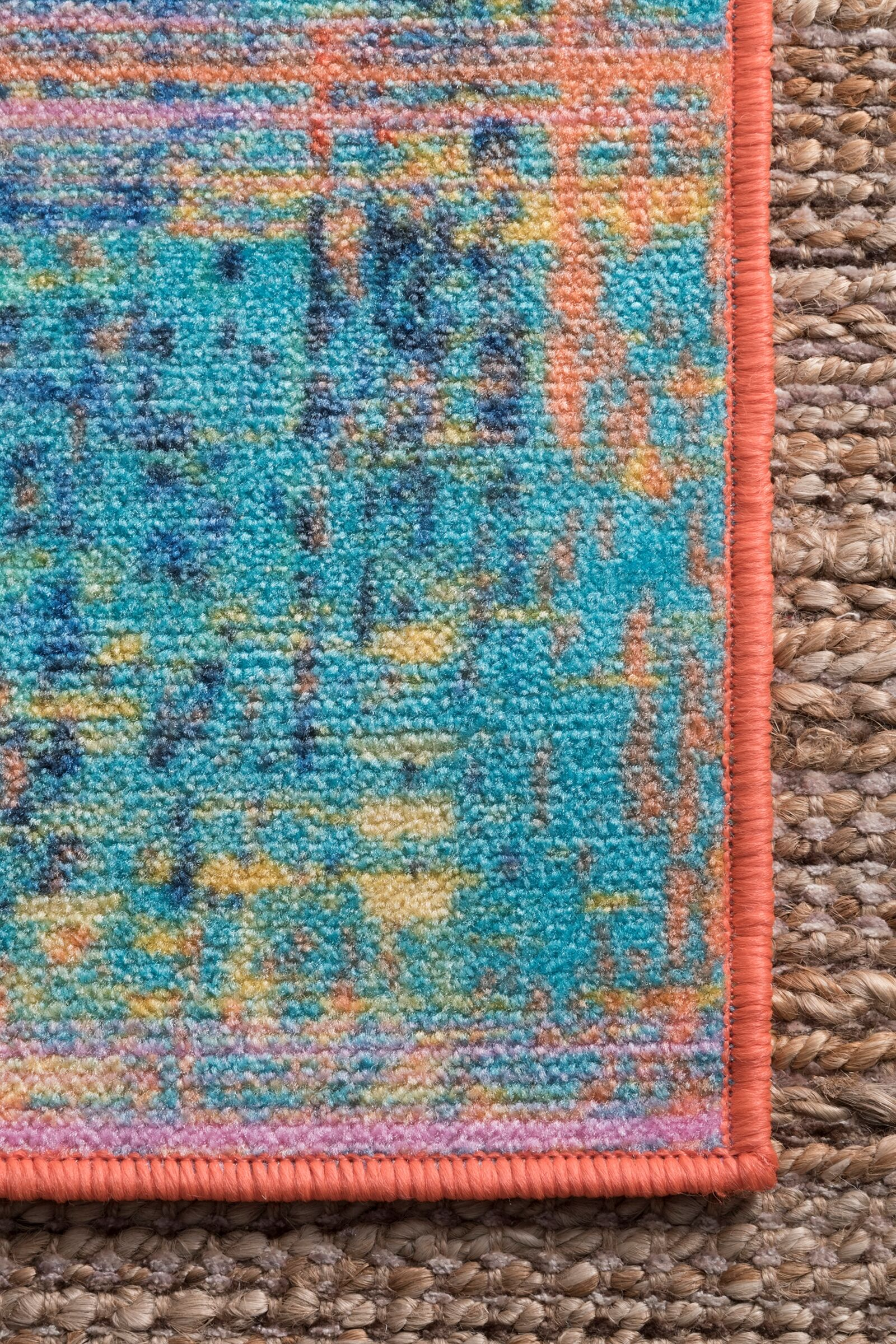 Pat Blue/Yellow/Teal Area Rug Rug Size: Rectangle 8' x 10'