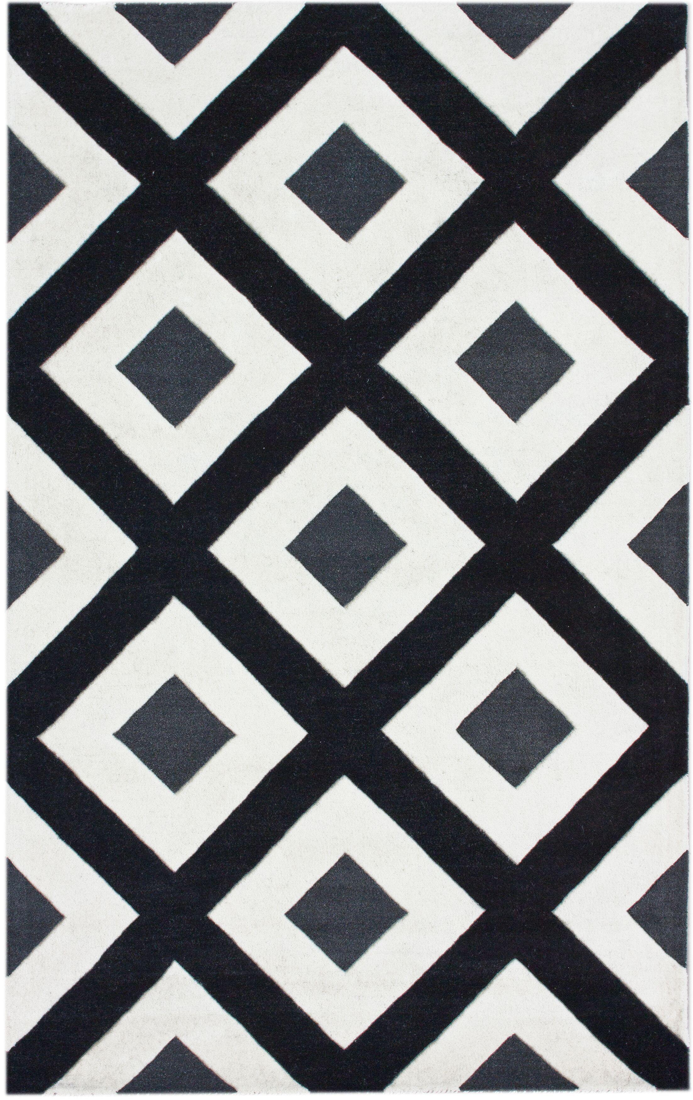 Bella Diamonds Hand-Tufted Wool Black/White Area Rug Rug Size: Rectangle 5' x 8'