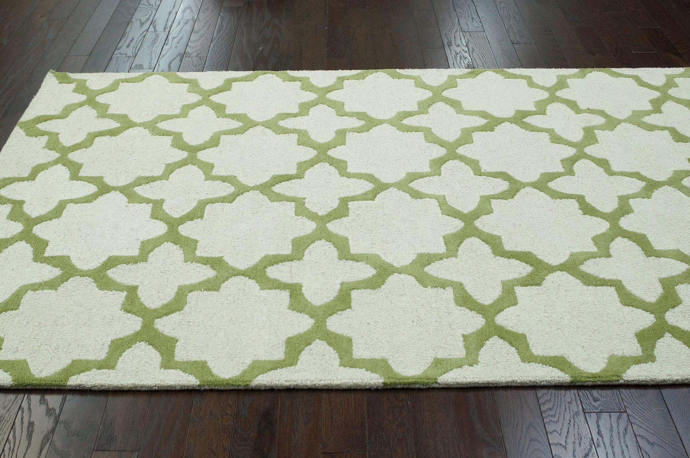 Moderna Donna Hand-Tufted Beige/Green Area Rug Rug Size: Rectangle 8'3