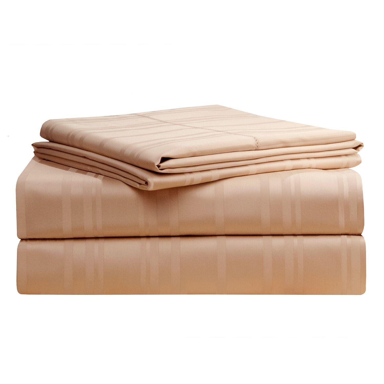Stripe 510 Thread Count Pima Cotton Sheet Set Size: King, Color: Camel