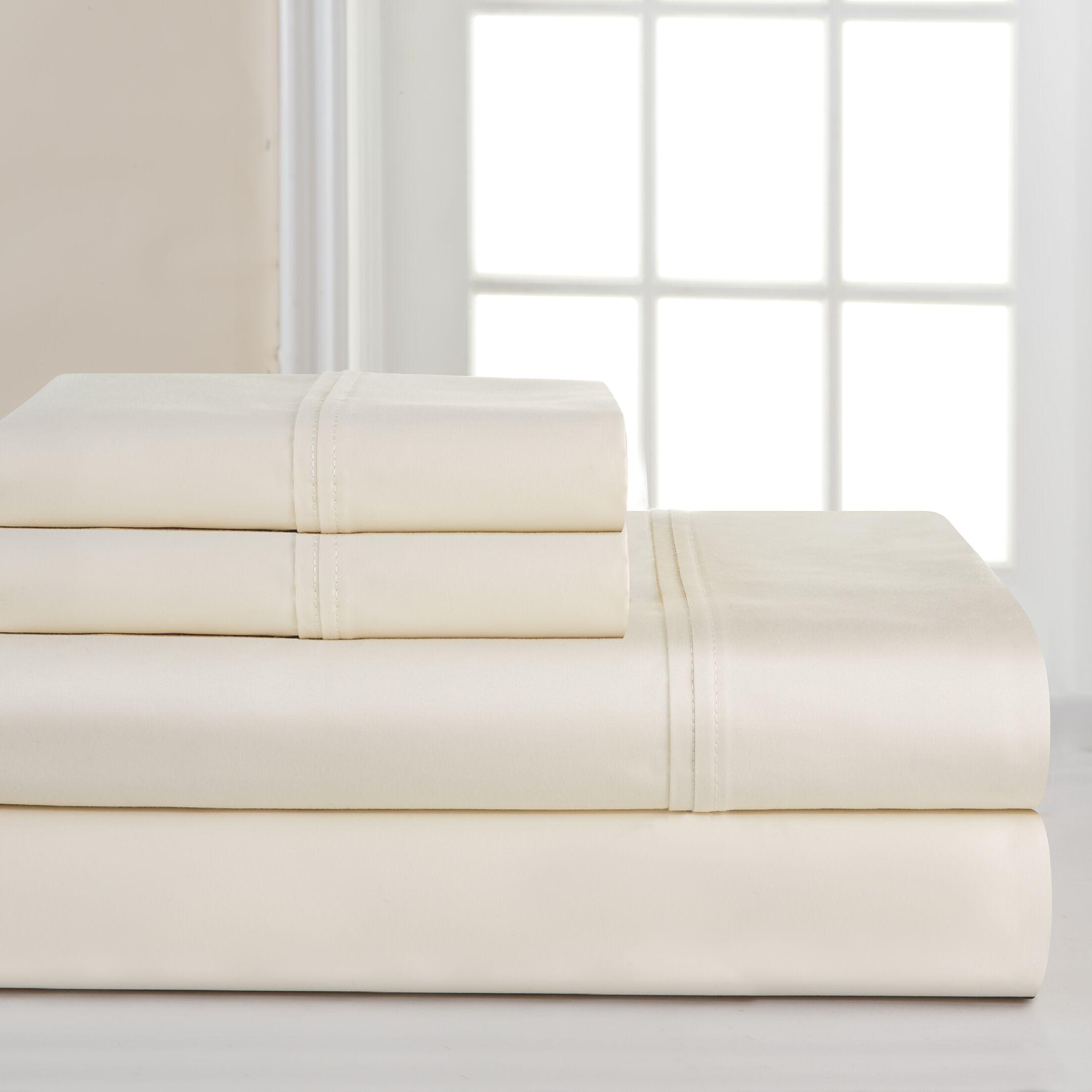 700 Thread Count Deep Pocket Pima Sheet Set Size: King, Color: Bone