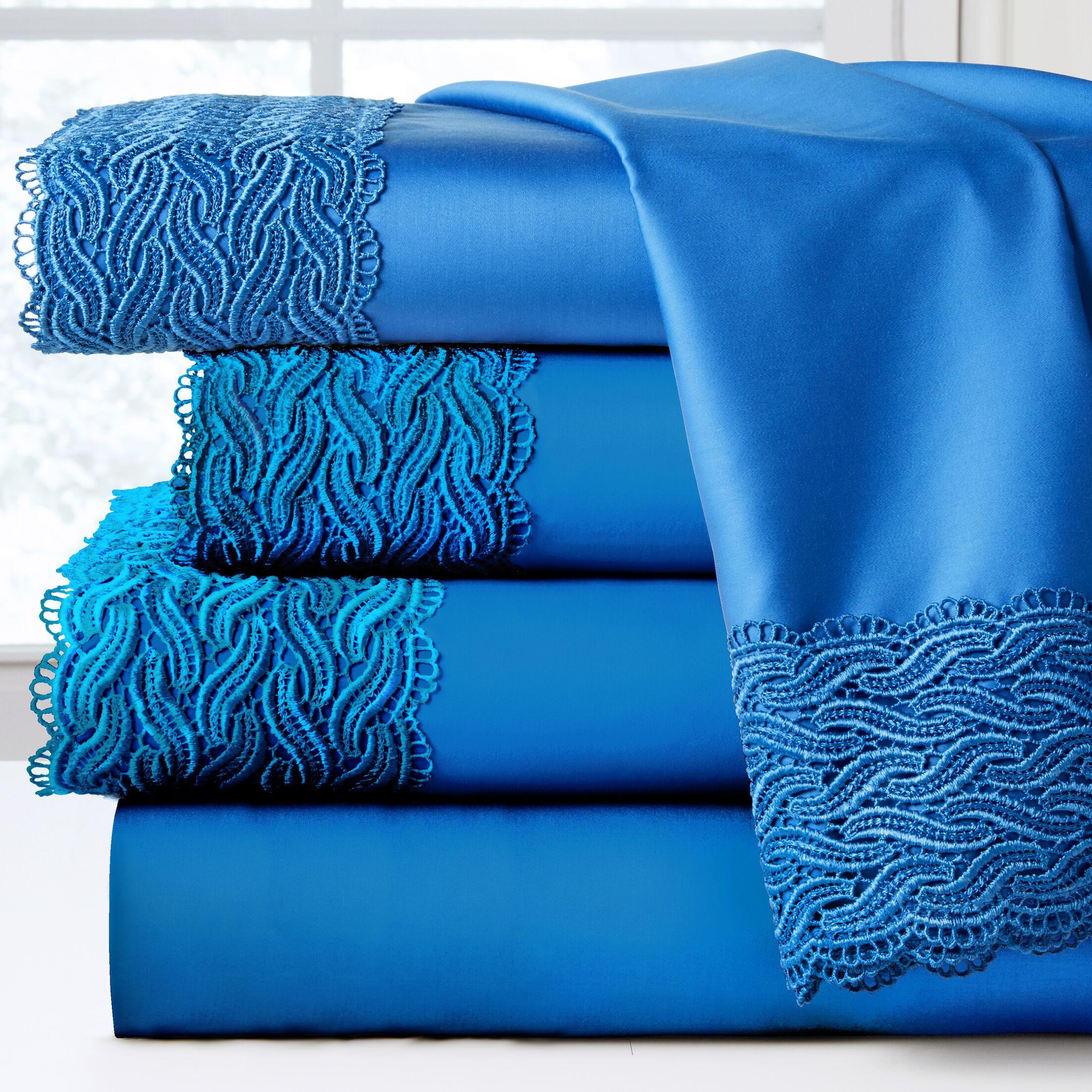 300 Thread Count 100% Cotton Sheet Set Color: Brilliant Blue, Size: Queen