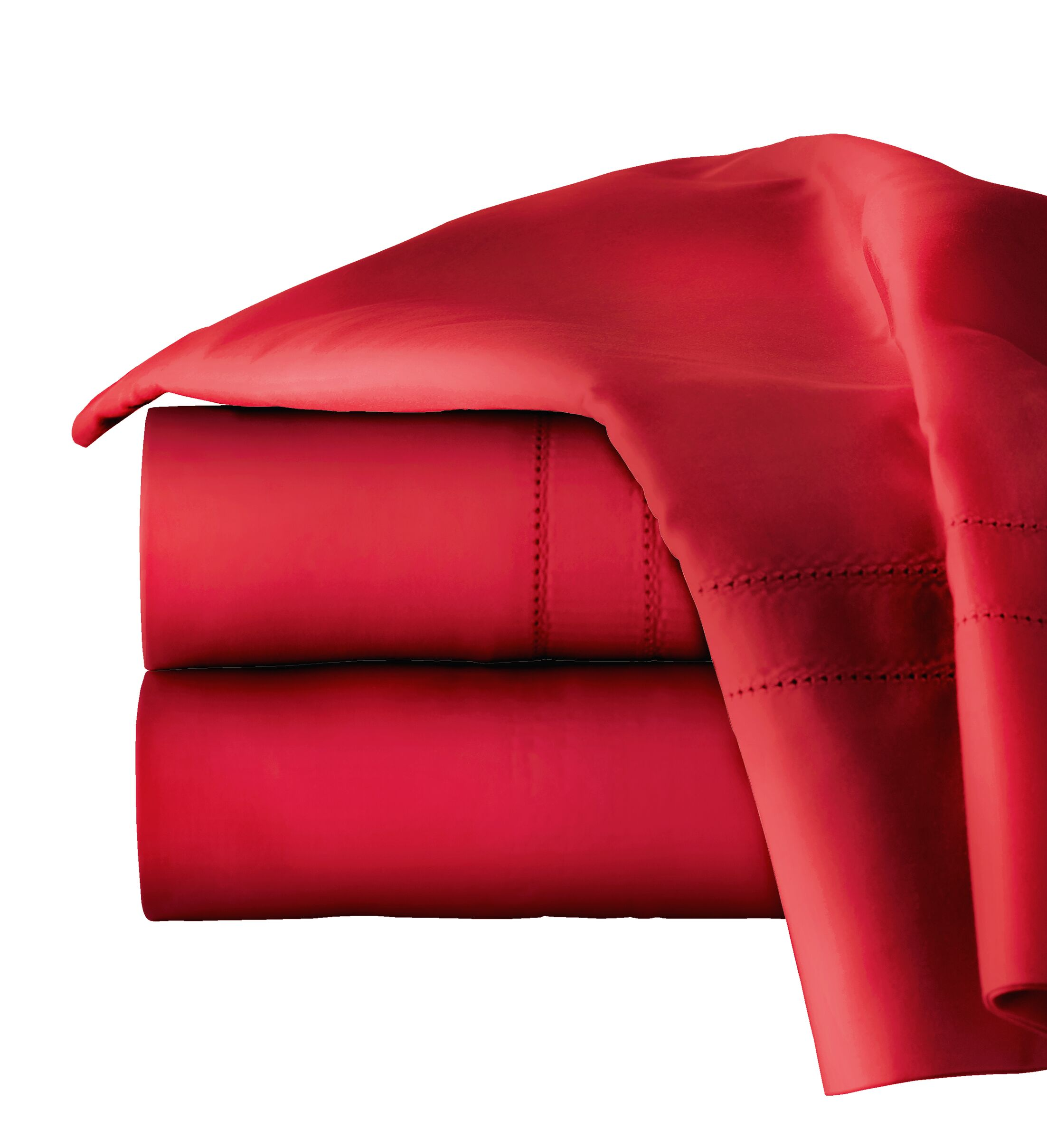 620 Thread Long Staple Count 100% Cotton Sheet Set Color: True Red, Size: Queen