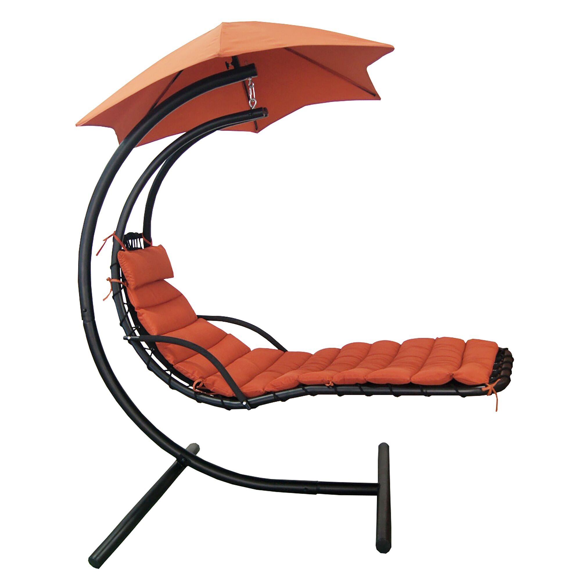 Cano Polyester Hanging Chaise Lounger with Stand Fabric: Terra Cotta
