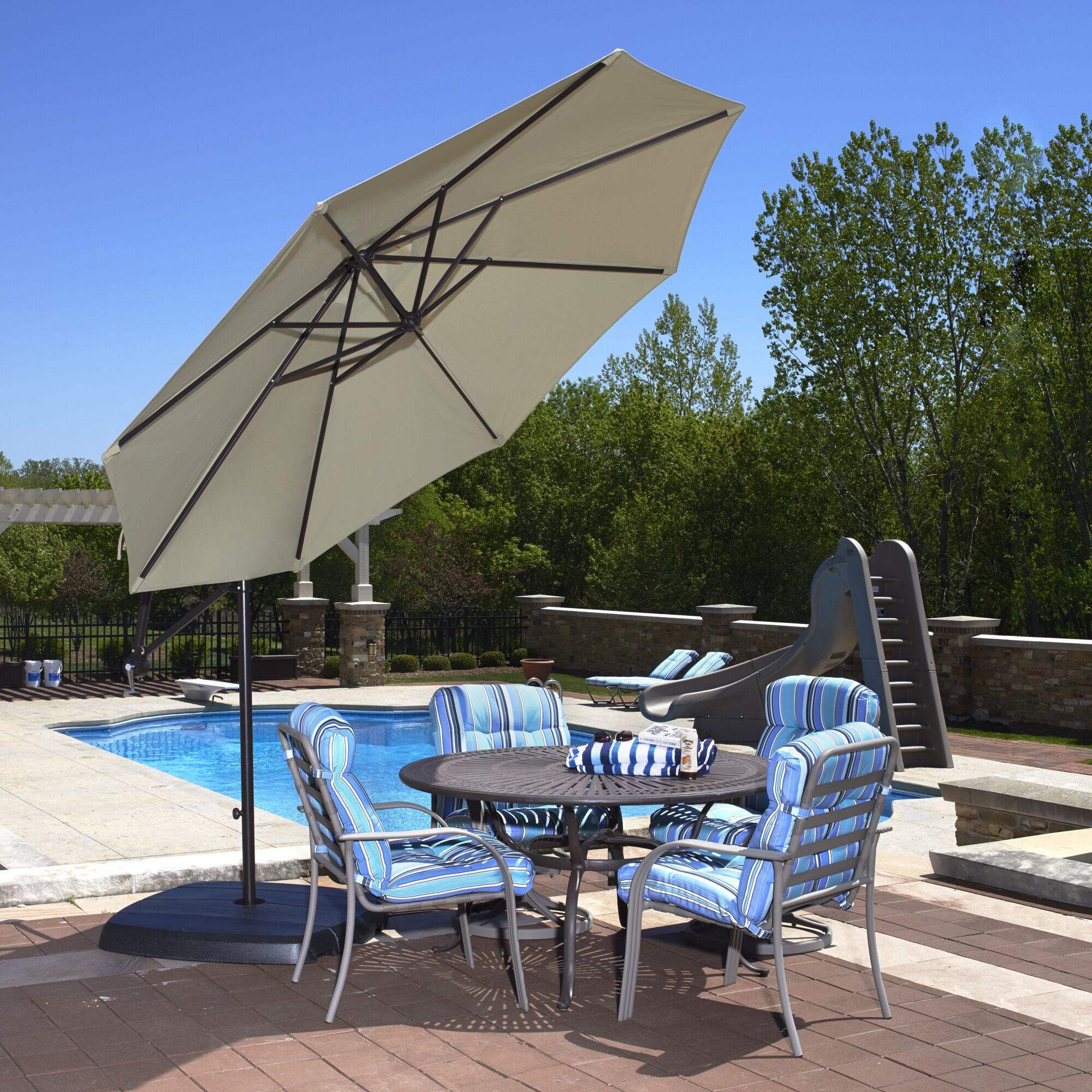 Santiago 10' Cantilever Sunbrella Umbrella Fabric: Beige Sunbrella