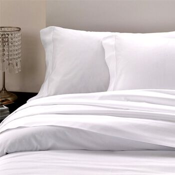 Raso Hemstitch 300 Thread Count Cotton Flat Sheet Color: White, Size: Queen